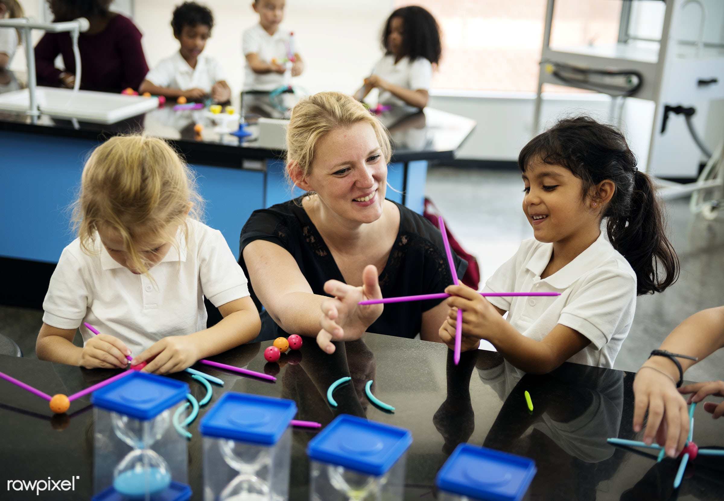 Happy kids at elementary school - knowledge, playful, children, study, education, imagination, lab, together, science,...