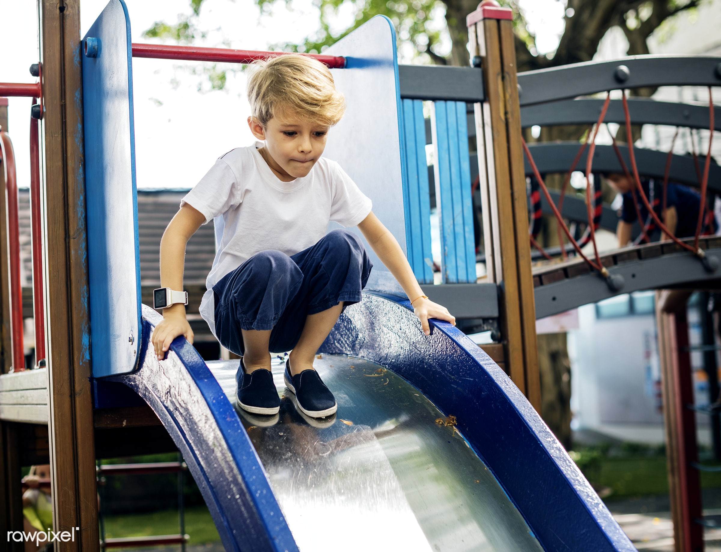 boy playing at a playground - playground, park, leisure, young, kid, caucasian, child, playing, blonde, recreational, casual...
