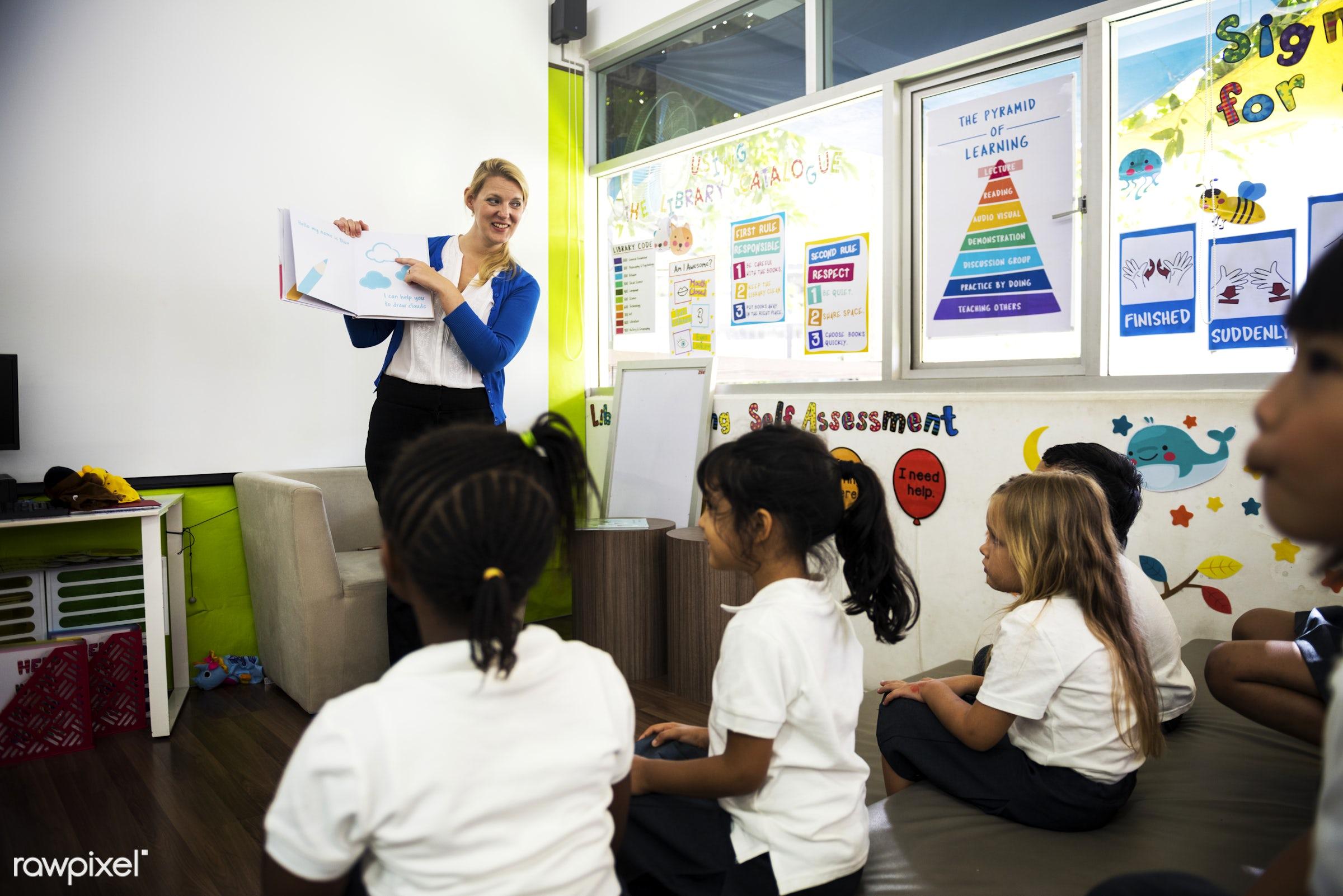 Happy kids at elementary school - teacher, school, african, african american, american, asian, black, boys, british,...
