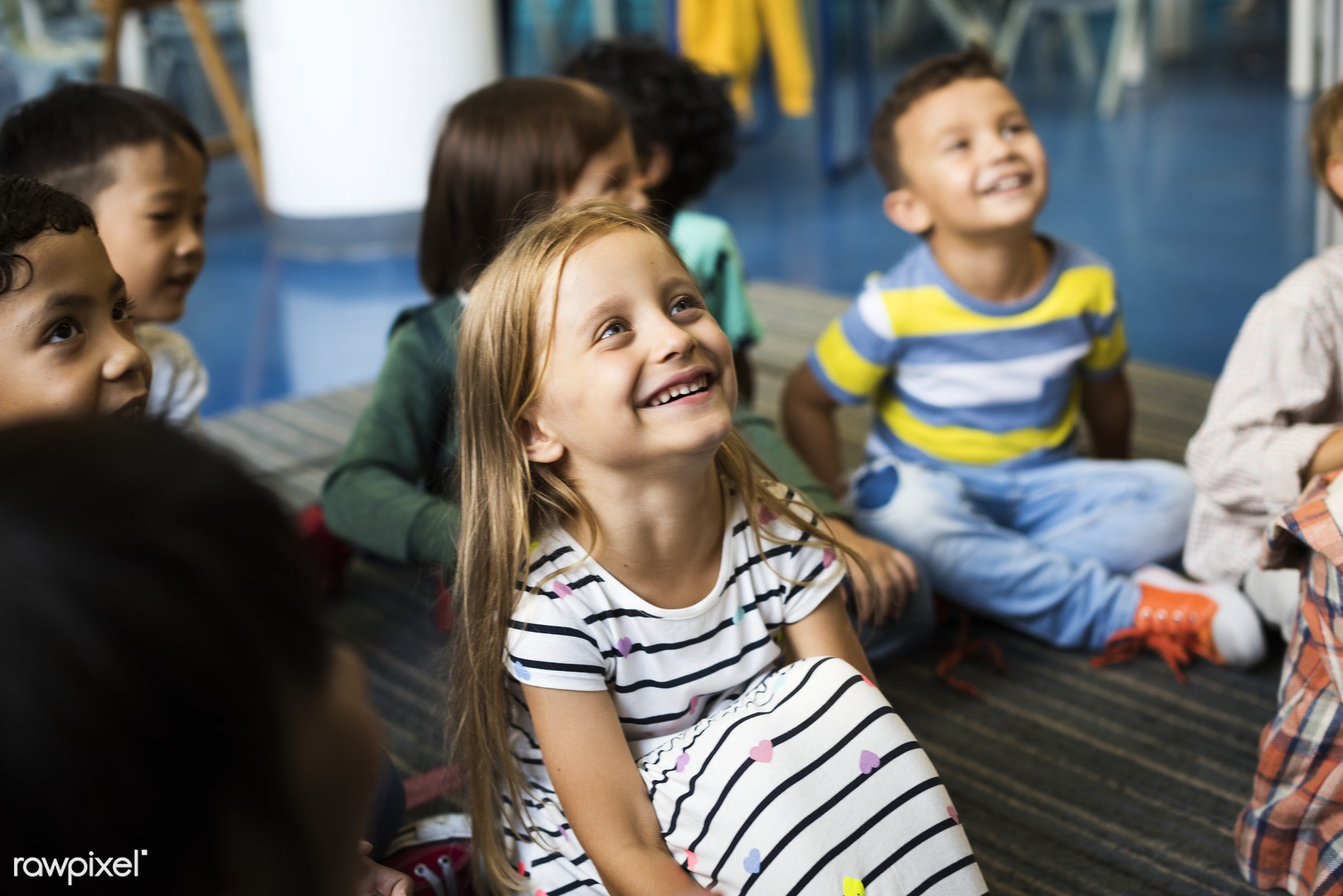 Happy kids at elementary school - classroom, african, african american, american, asian, black, boys, british, casual,...
