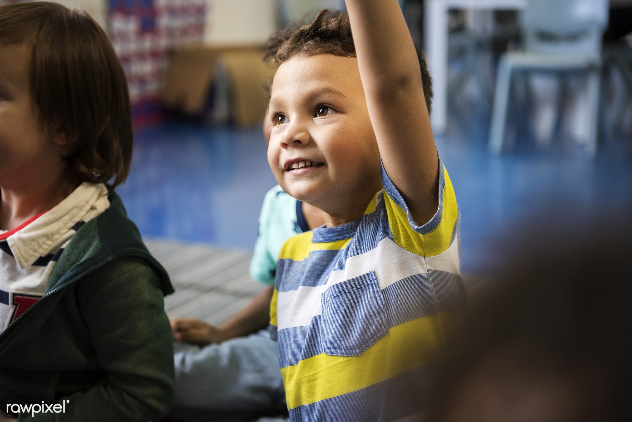 Happy kids at elementary school - classroom, answering, asian, boys, casual, children, class, classmate, daycare, diversity...