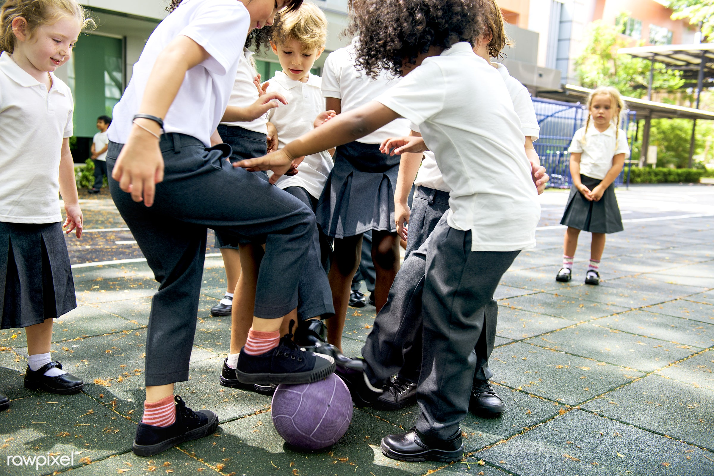 Happy kids at elementary school - soccer, african, african american, american, asian, ball, black, british, caucasian,...