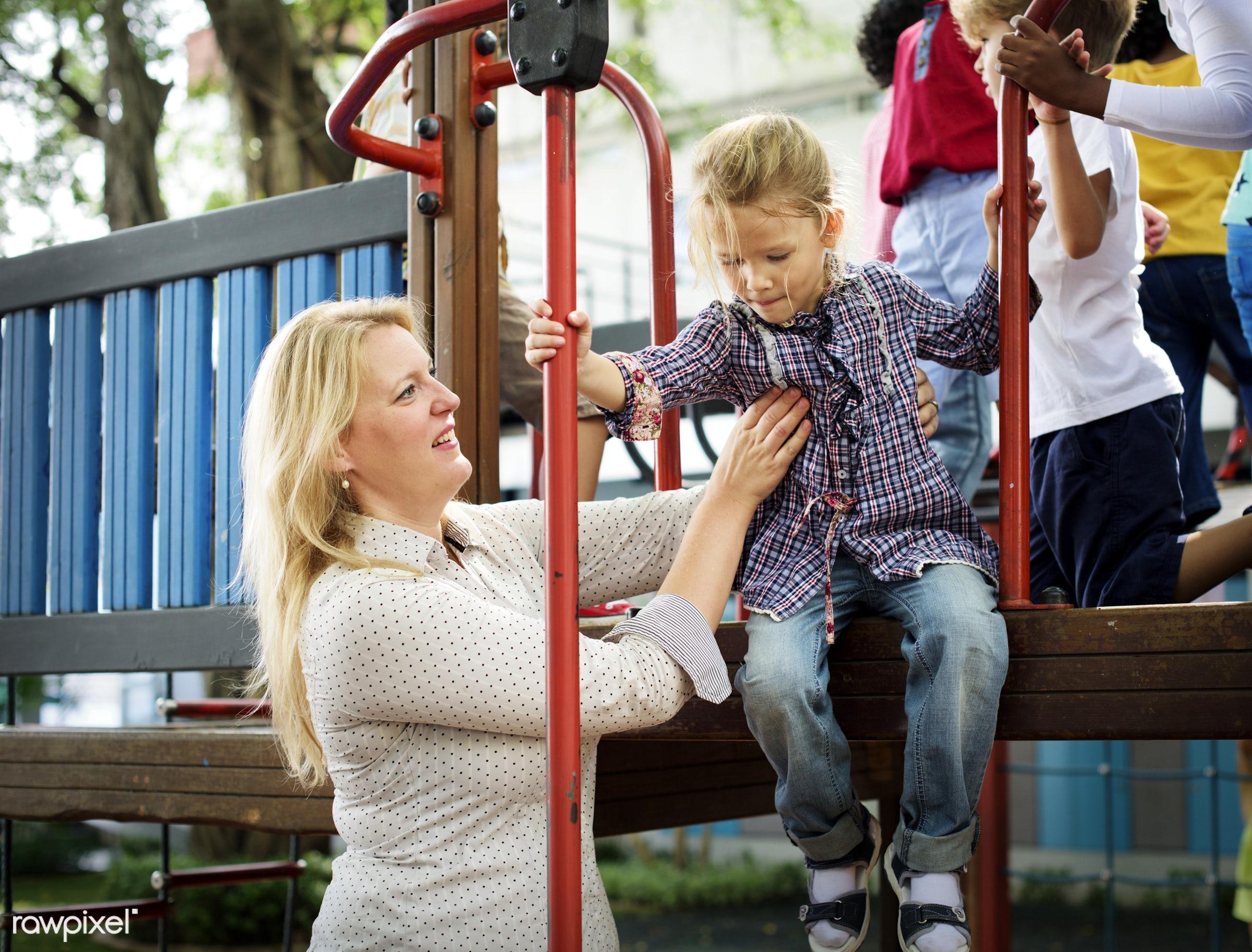 Happy kids at elementary school - getting, recreation, kid, child, playing, care, cheerful, preschool, girls, playground,...