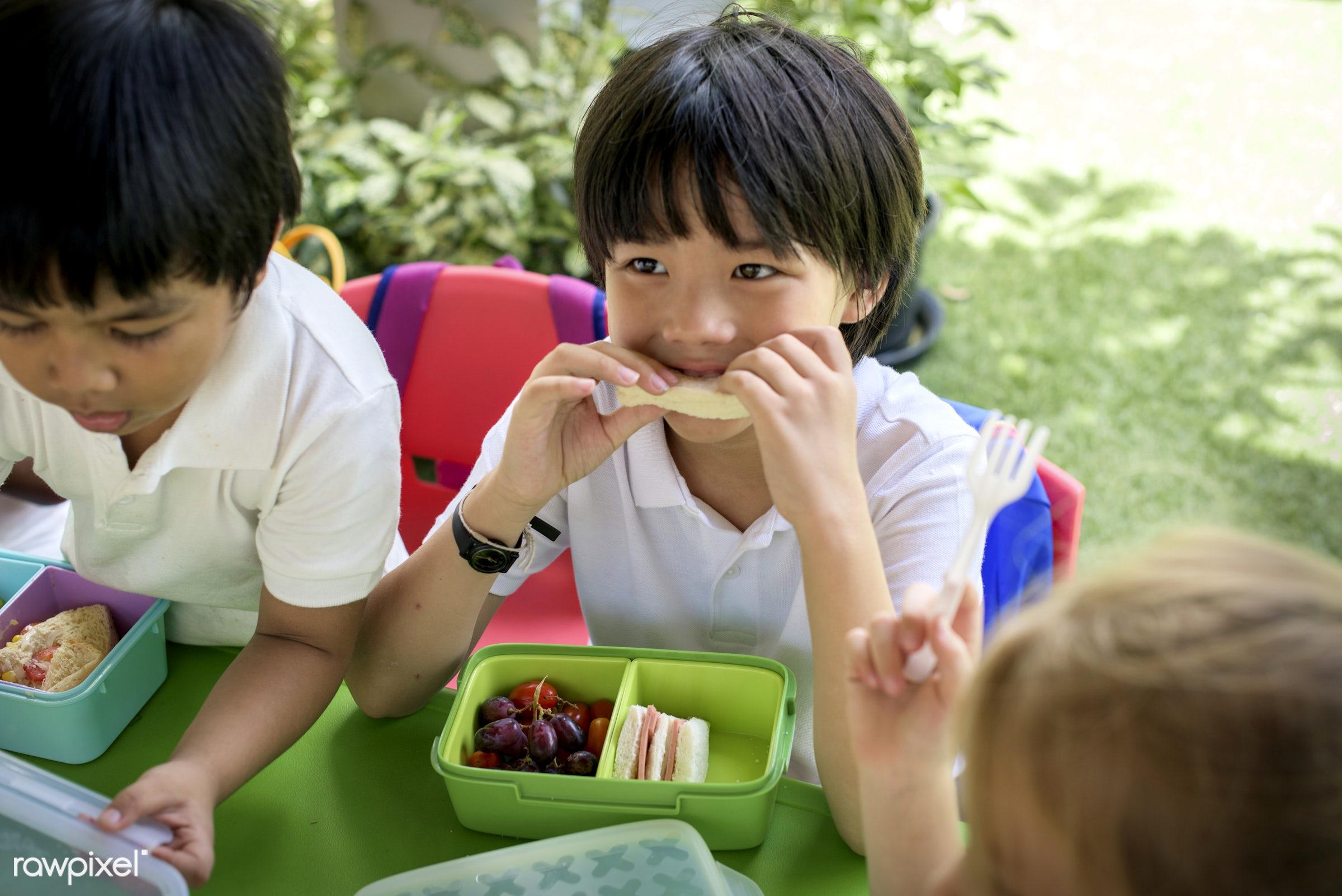 Happy kids at elementary school - kindergarten, summer, asia, asian, box, boys, break time, chairs, children, diverse, eat,...