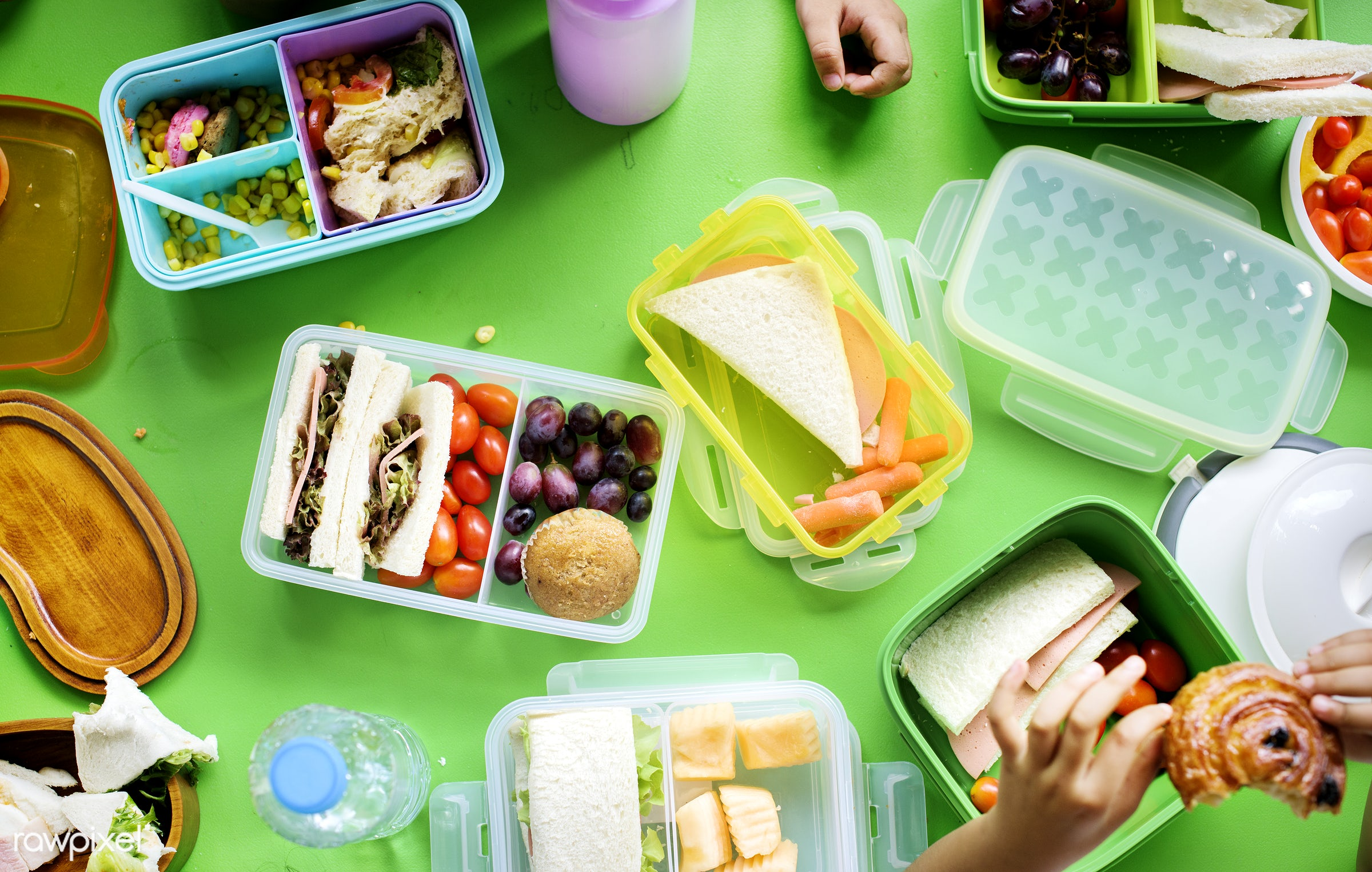 Kids eating lunch at elementary school - lunchbox, break time, bakery, aerial, box, chairs, children, diverse, eat, eating,...