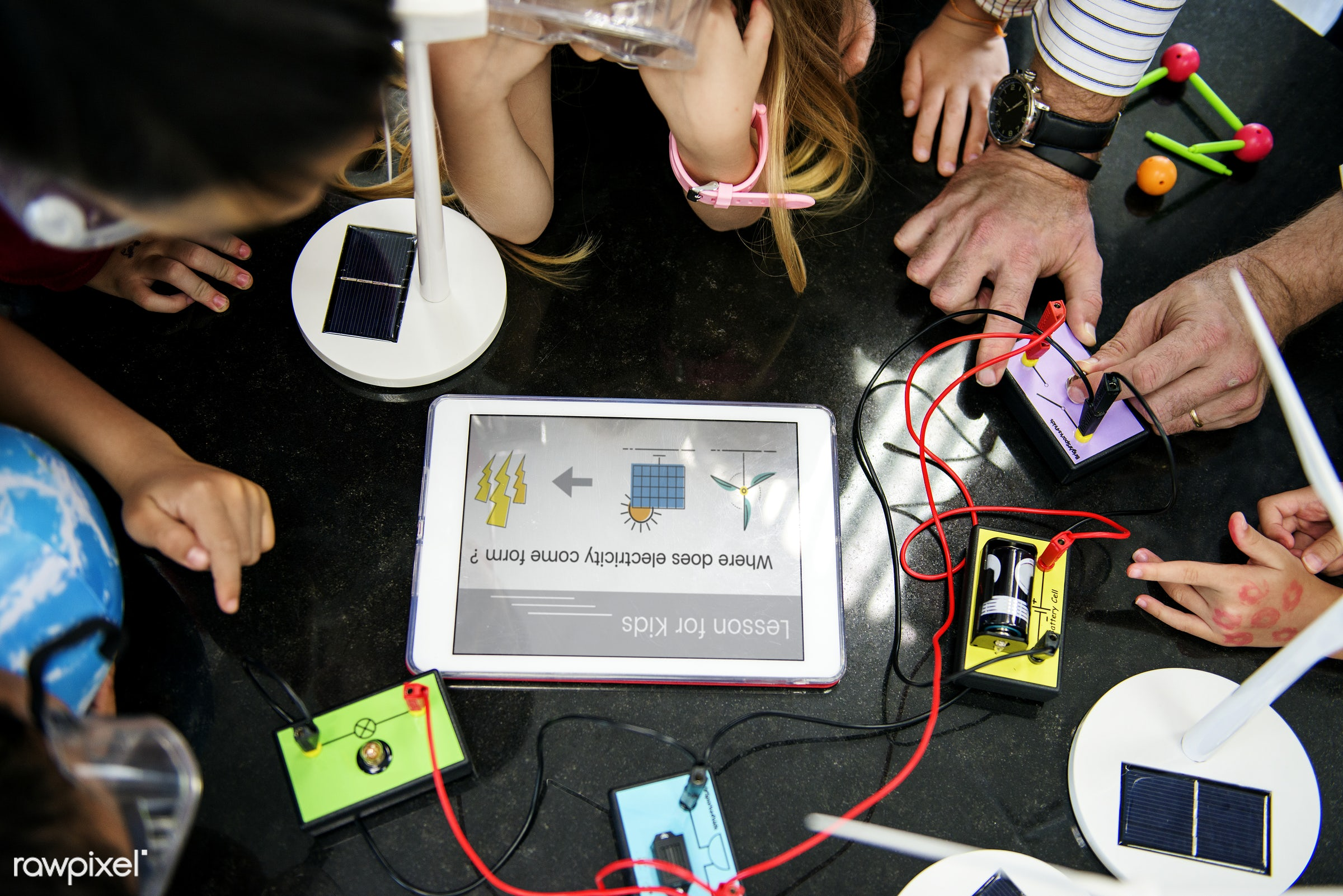 Happy kids at elementary school - technology, flatlay, conencted, study, science, friends, experiment, friendship,...
