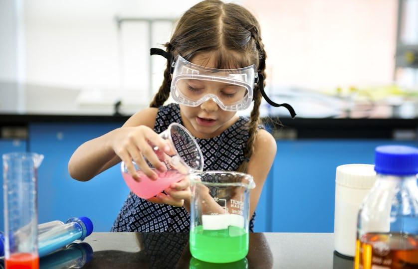 Girl in science lab