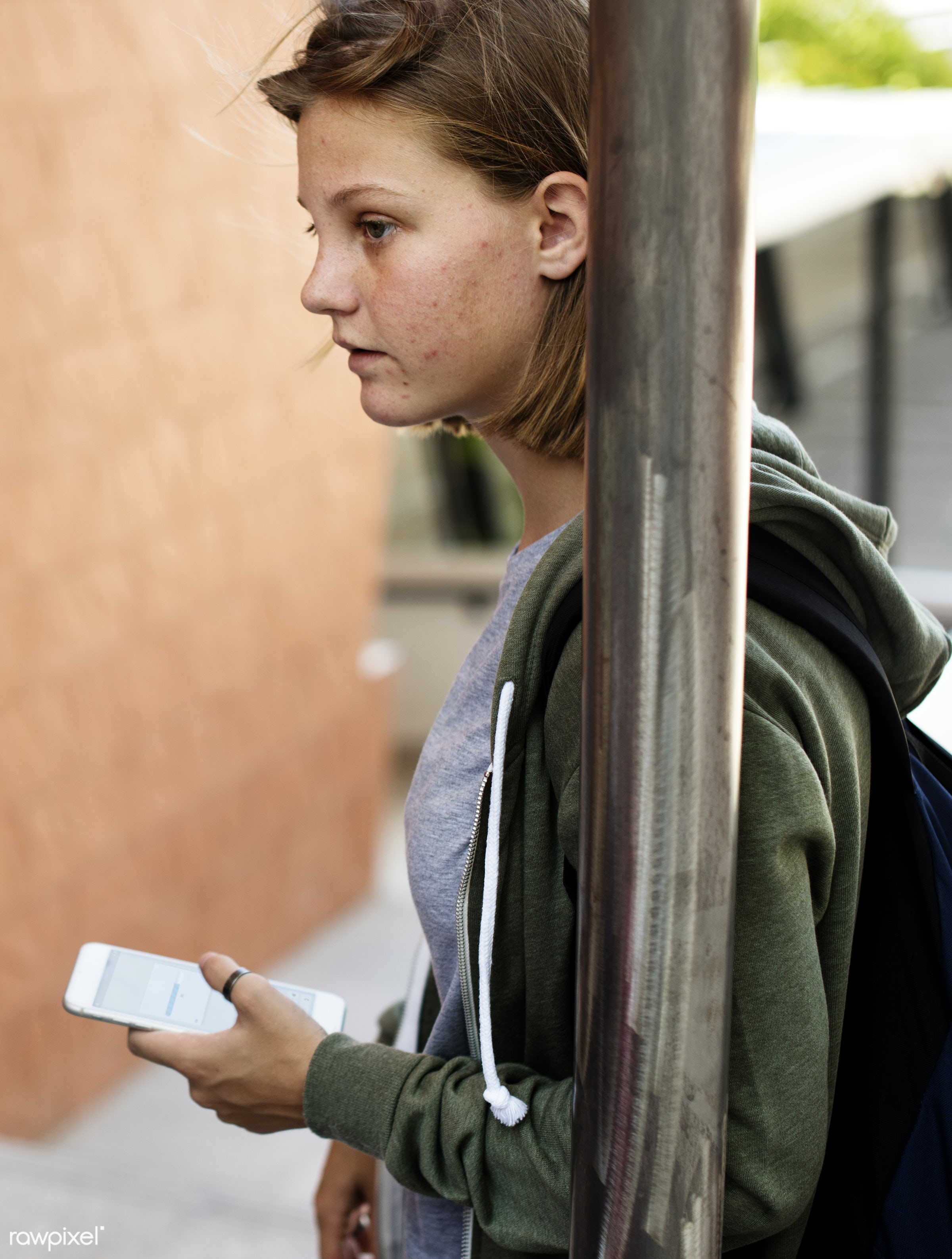 person, using, holding, network, caucasian, girl, stairway, student, casual, lifestyle, smart phone, mobility, building,...