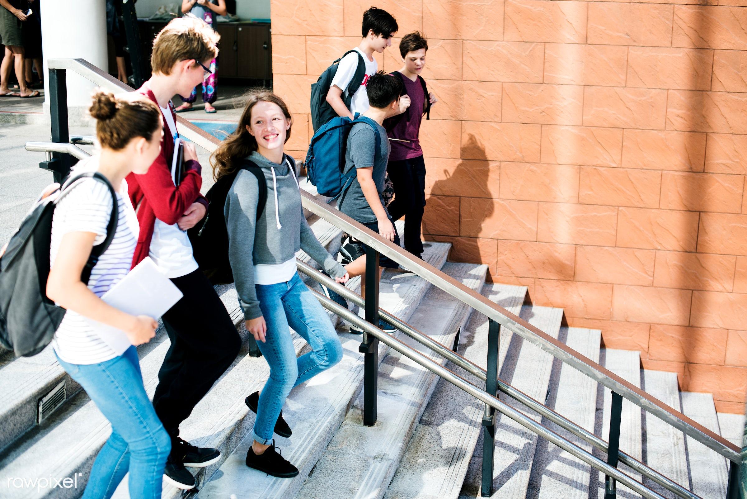walking, education, people, positivity, together, caucasian, teenage, friends, boys, lifestyle, friendship, backpack, men,...