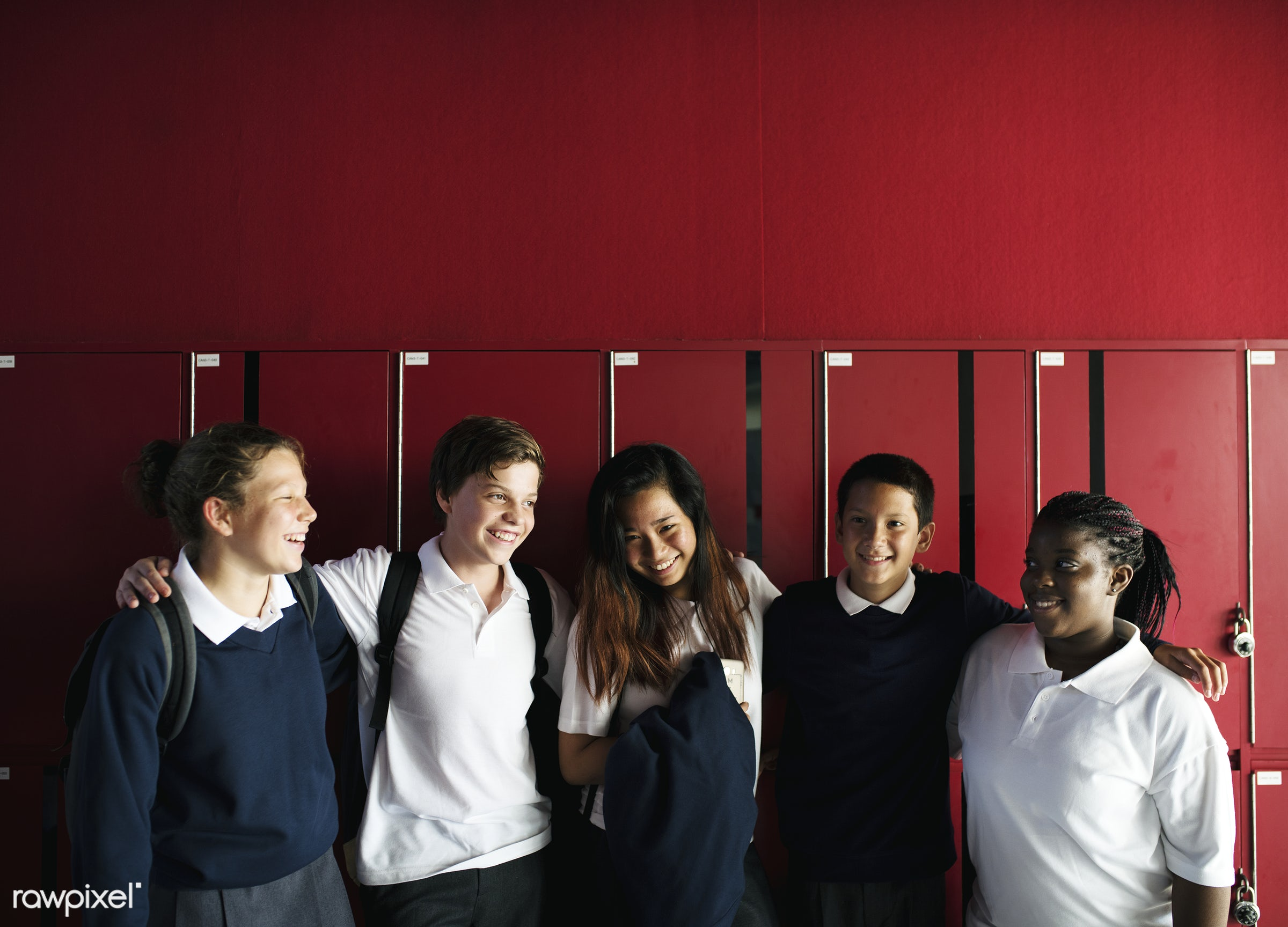 discussion, education, positivity, caucasian, academic, asian, girl, friends, lifestyle, smiling, lockers, students,...