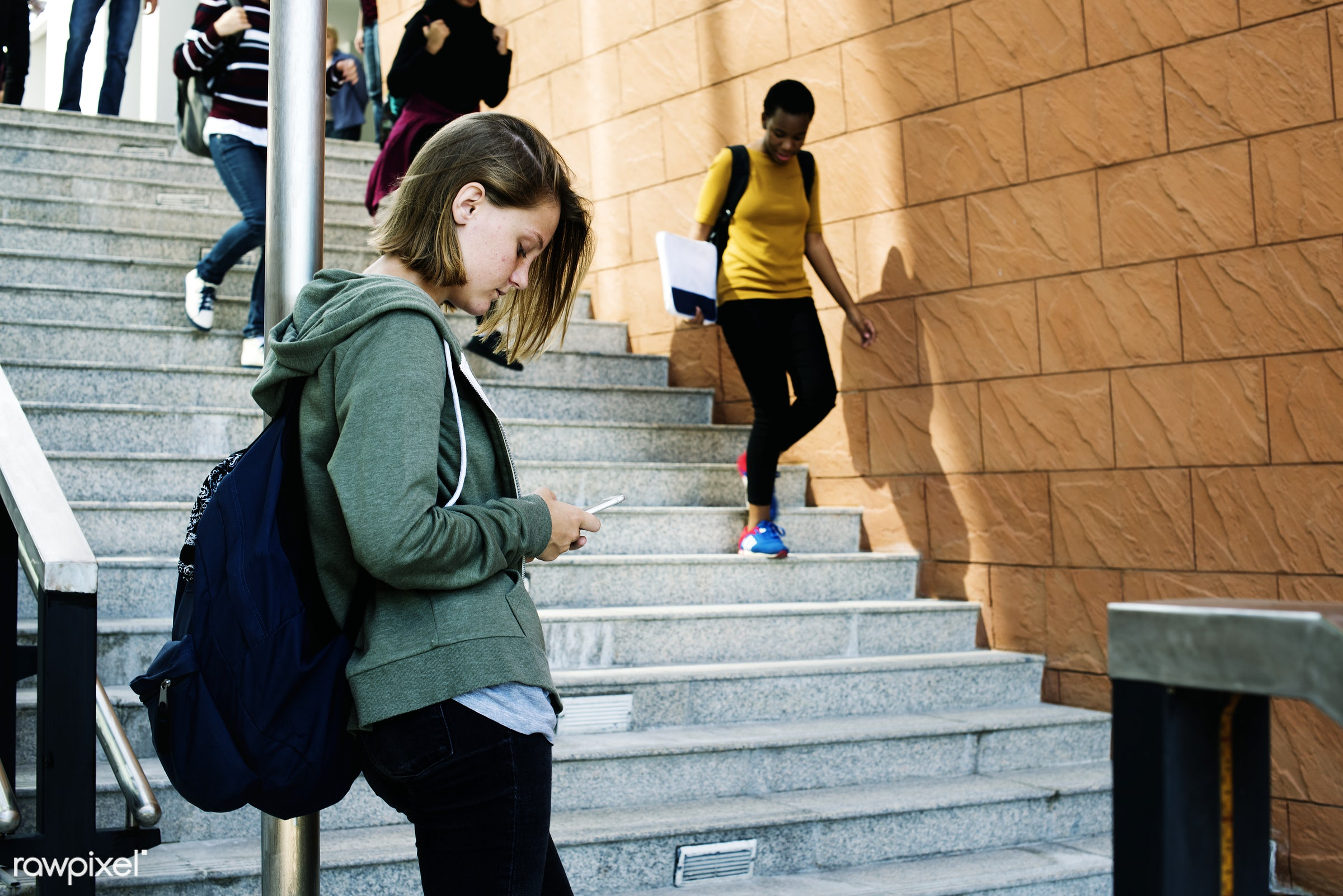 using, walking, people, caucasian, stairway, lifestyle, casual, boys, path, smart phone, girls, students, building,...