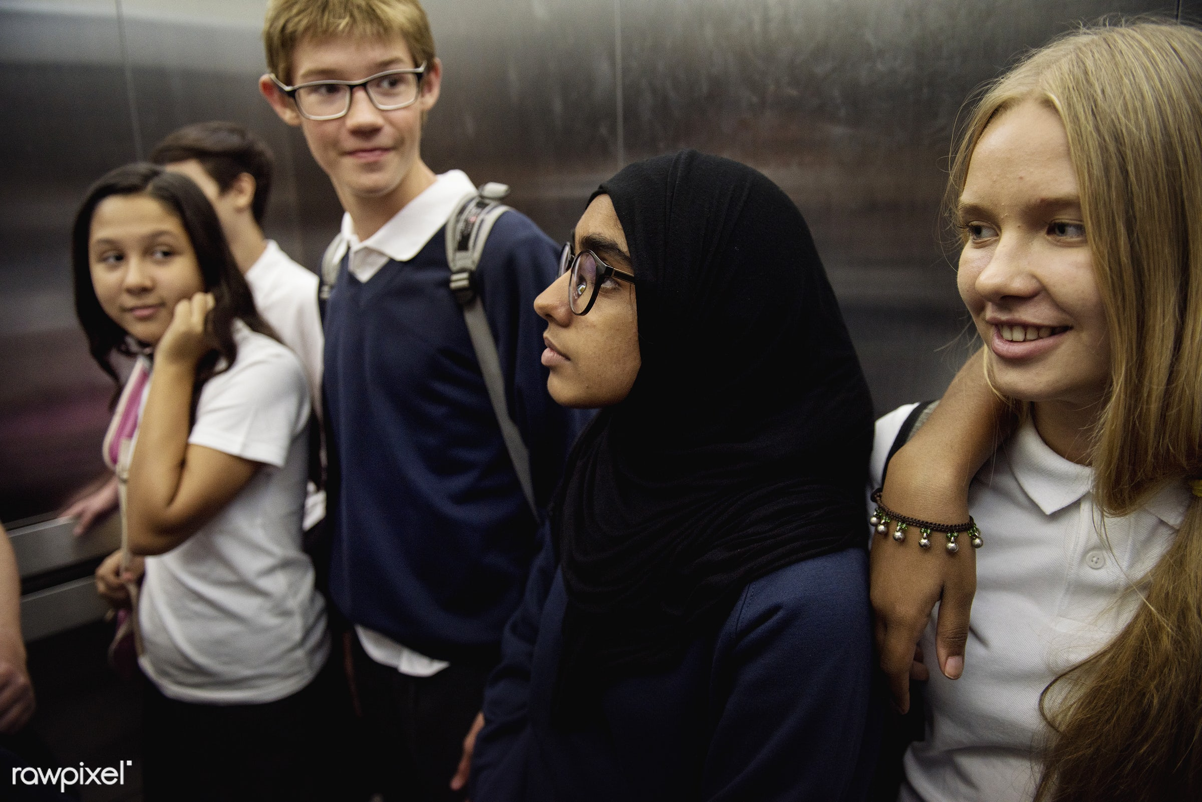 muslim, person, people, together, hispanic, caucasian, elevator, friends, young adult, boys, men, cheerful, girls, students...