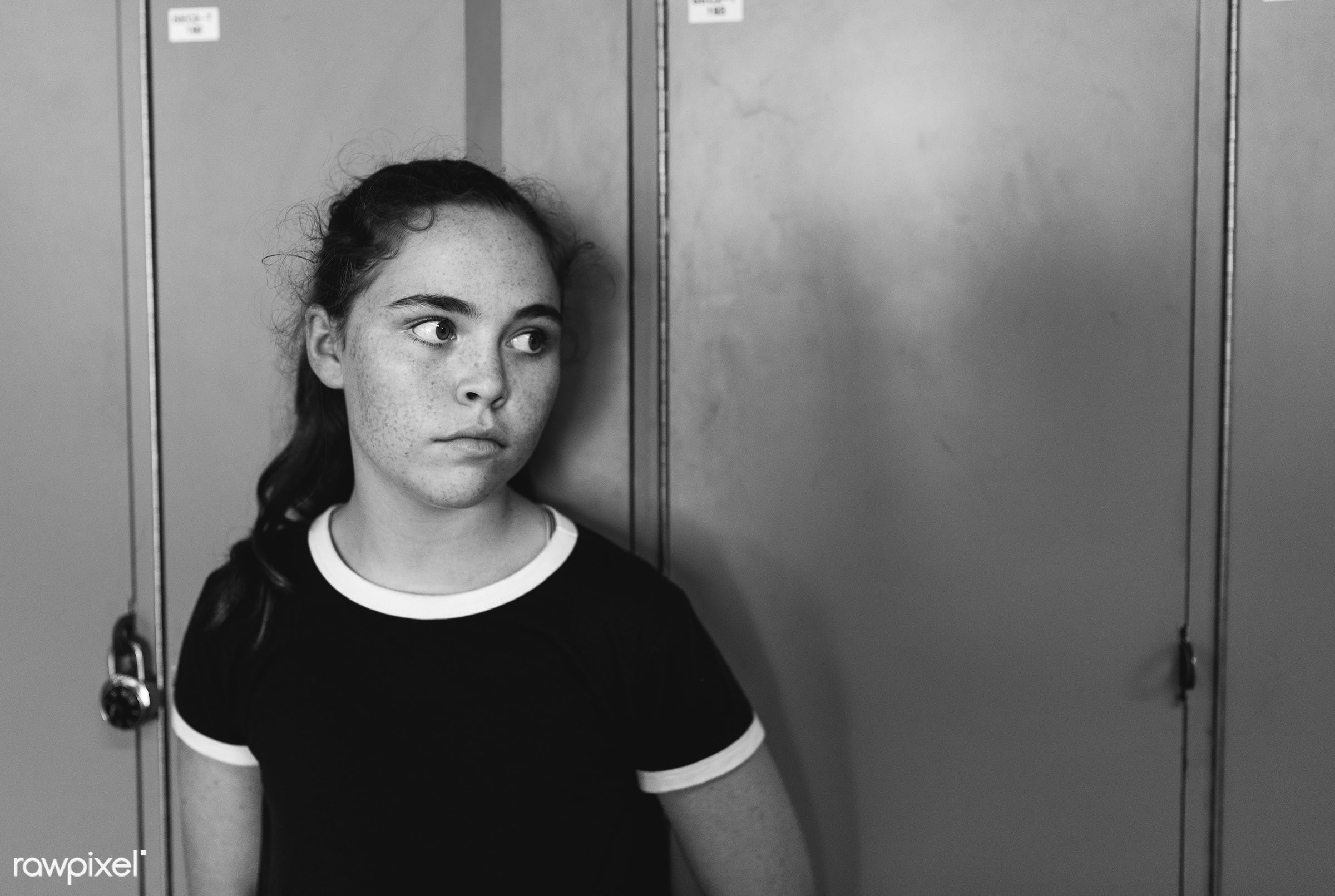 corridor, caucasian, blank expression, staring, girl, young adult, solo, teenager, casual, alone, high school, locker,...