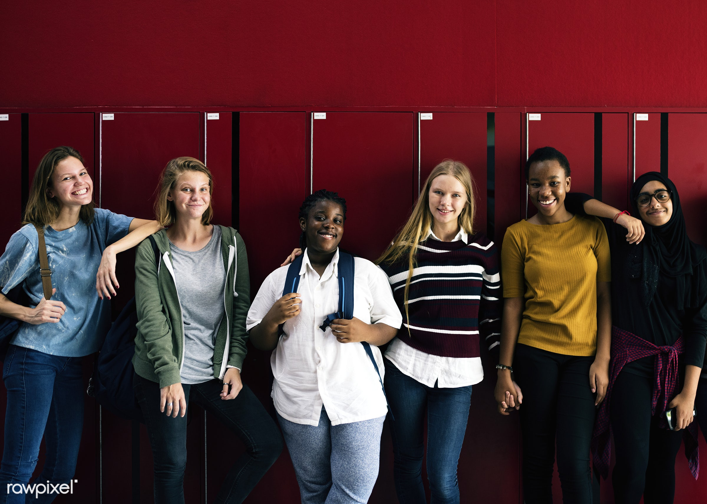 discussion, education, positivity, caucasian, academic, asian, girl, friends, lifestyle, casual, smiling, lockers, students...