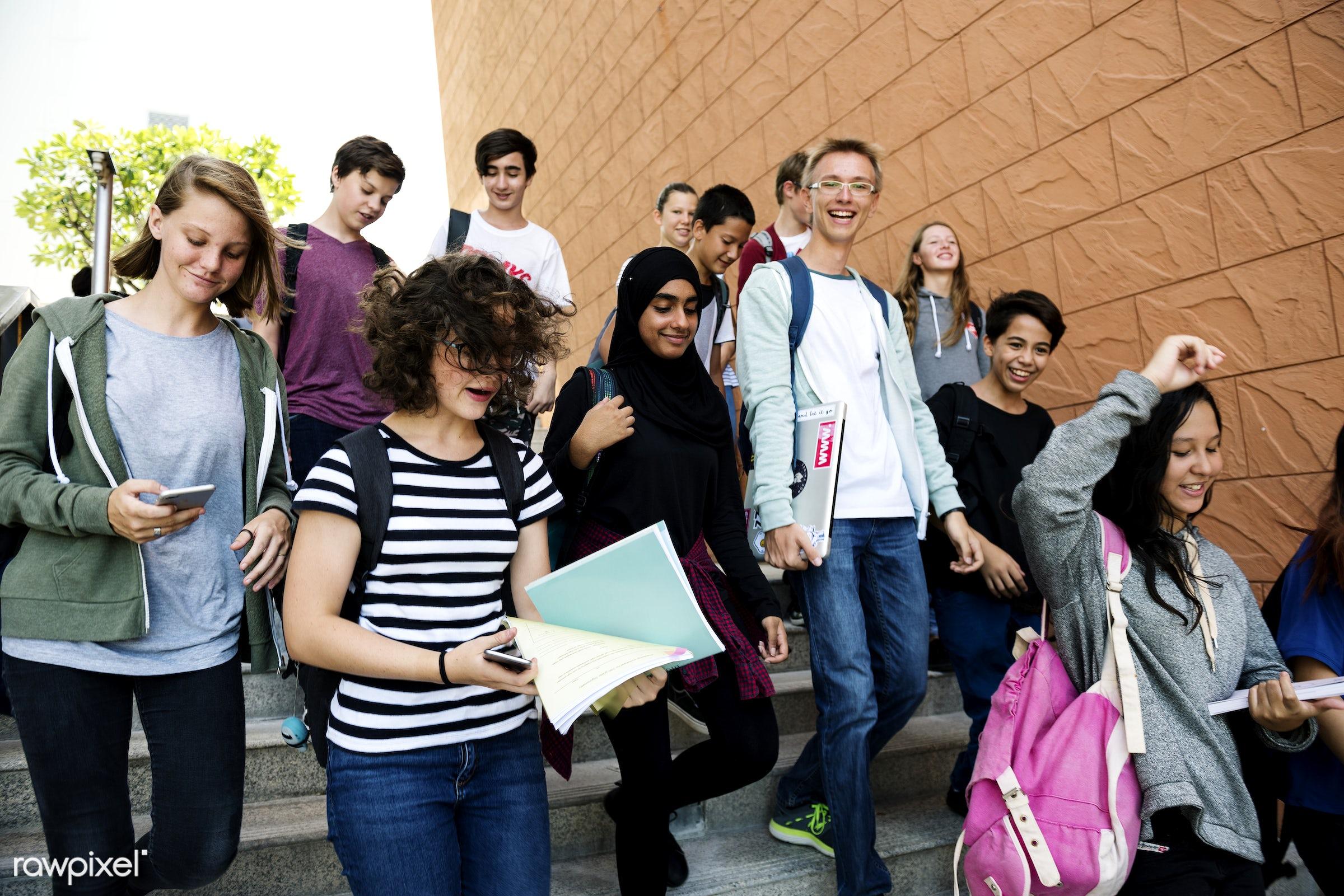adolescent, arab, asian ethnicity, backpack, boys, candid, caucasian, classmates, diversity, education, friends, friendship...