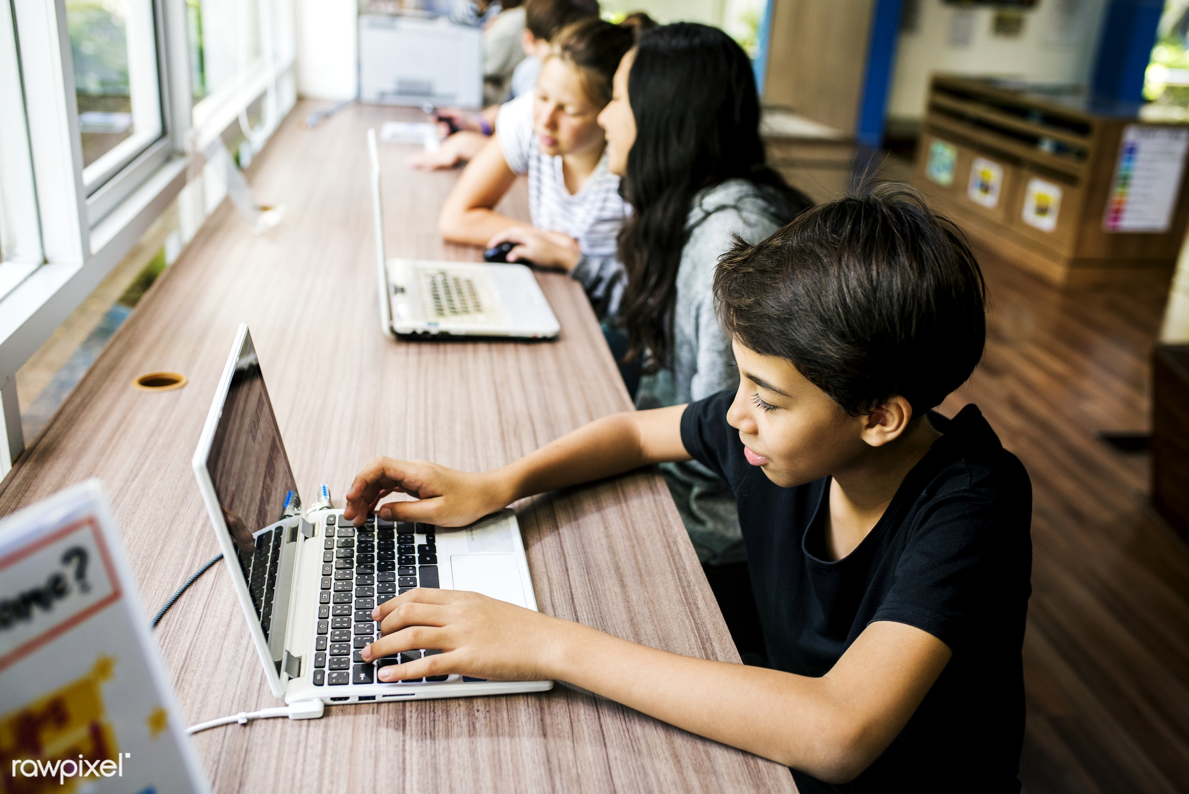 computer, using, technology, education, digital, online, casual, laptop, typing, girls, connection, diversity, communication...