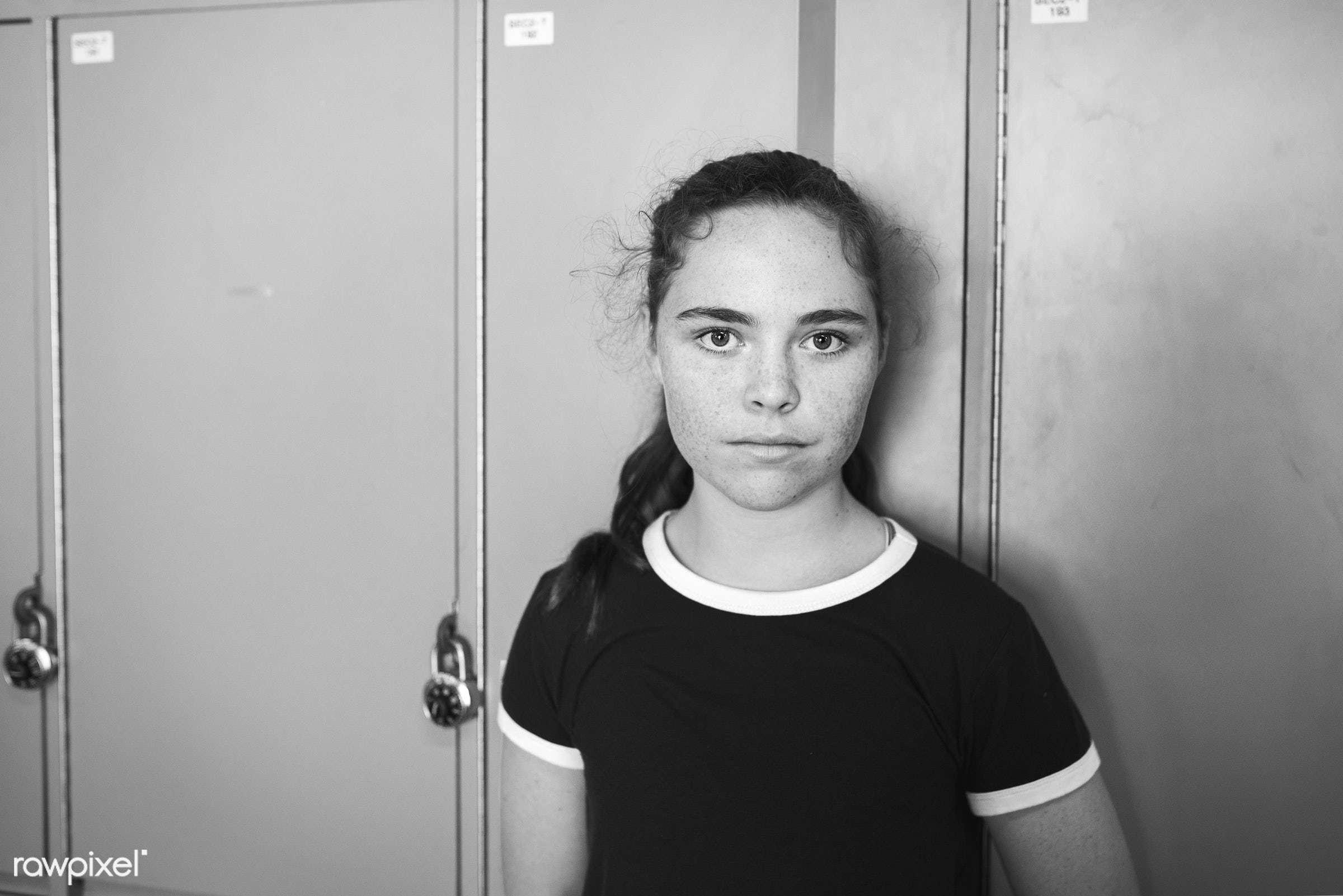corridor, caucasian, blank expression, staring, girl, young adult, solo, teenager, casual, looking at camera, alone, high...
