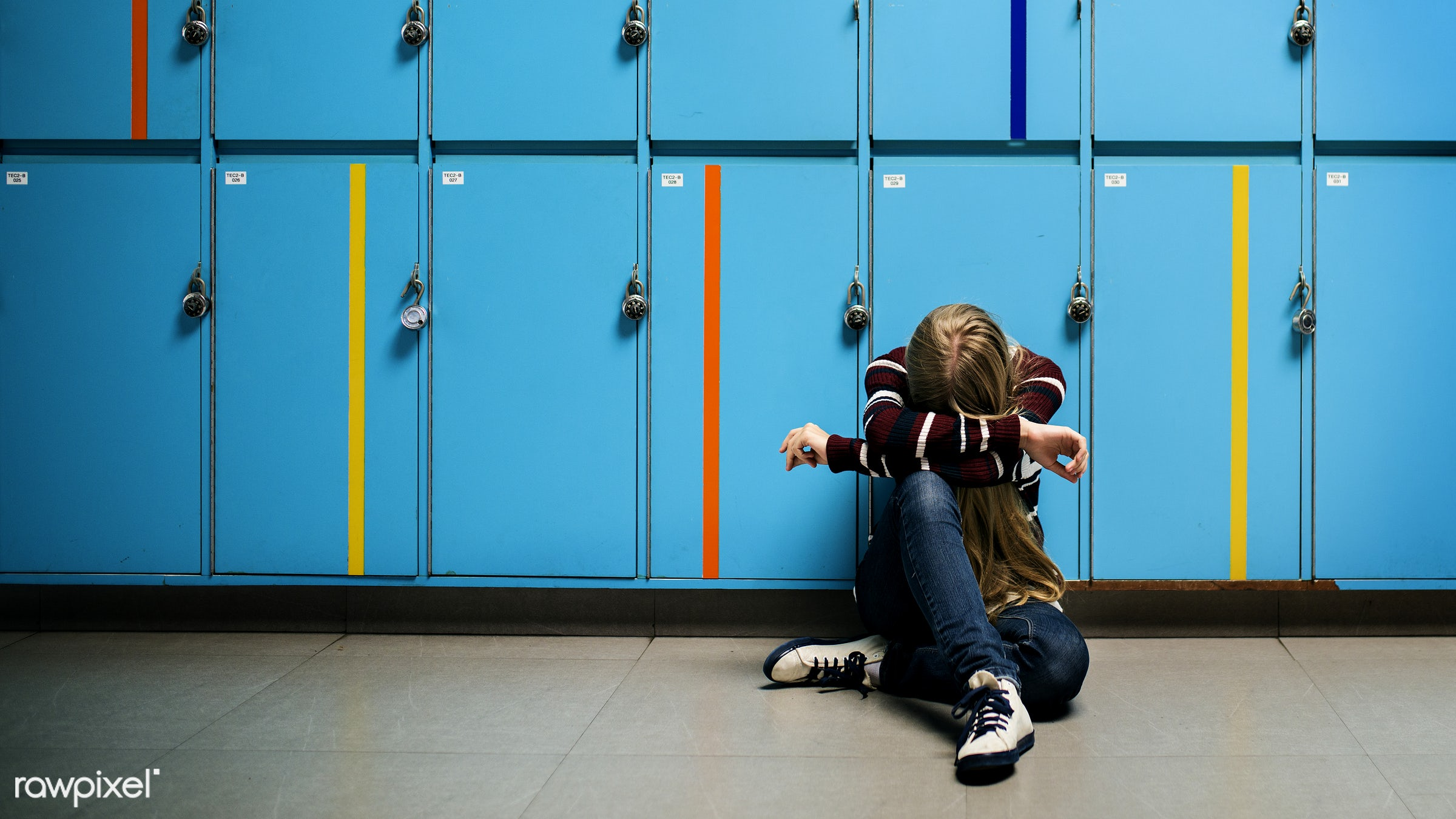 person, sad, ground, student, casual, arms, lonely, alone, lockers, gesture, depression, resting, school, sitting, tired,...