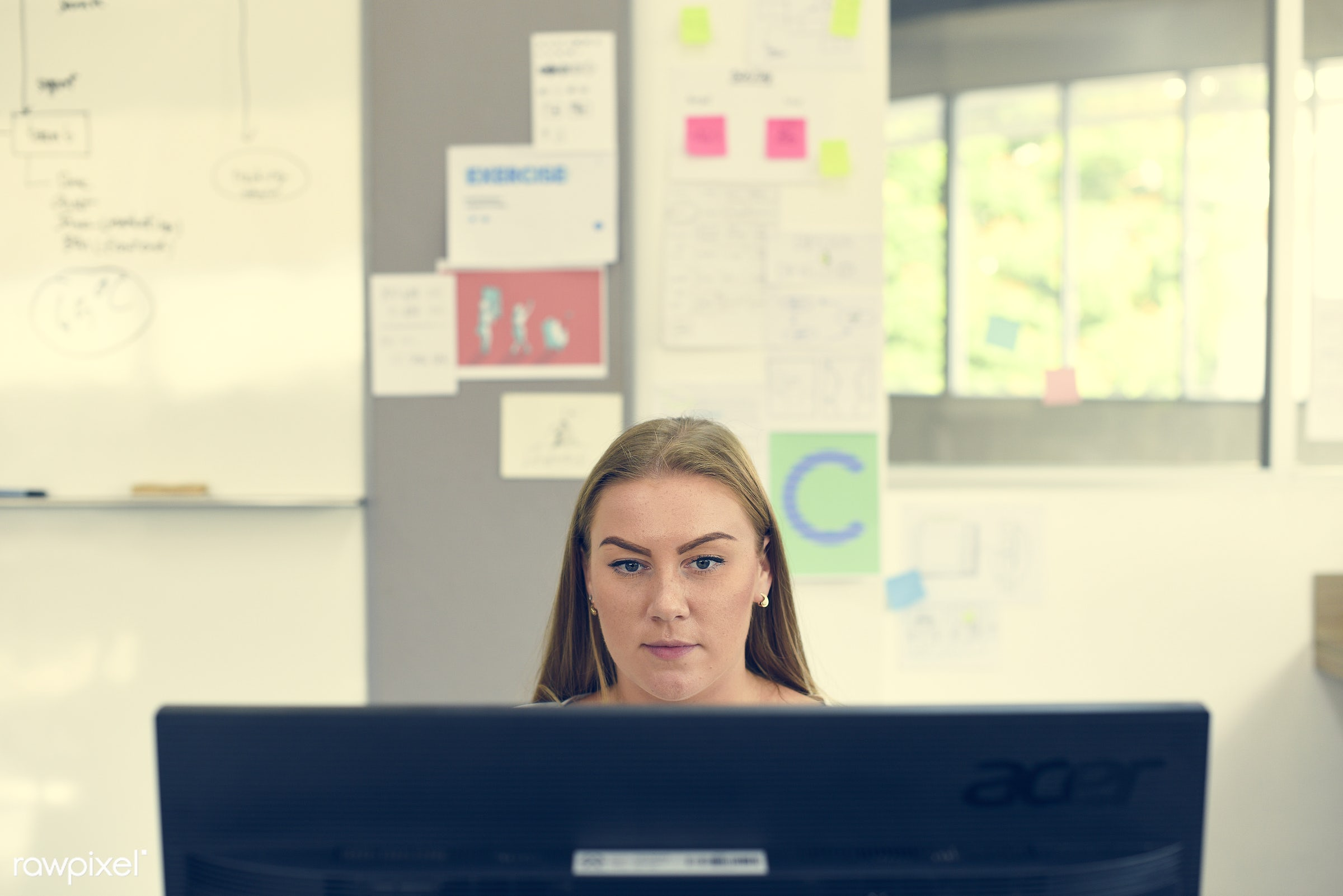 Caucasian woman working at the office - business, career, caucasian, communication, company, computer, connection, desk,...