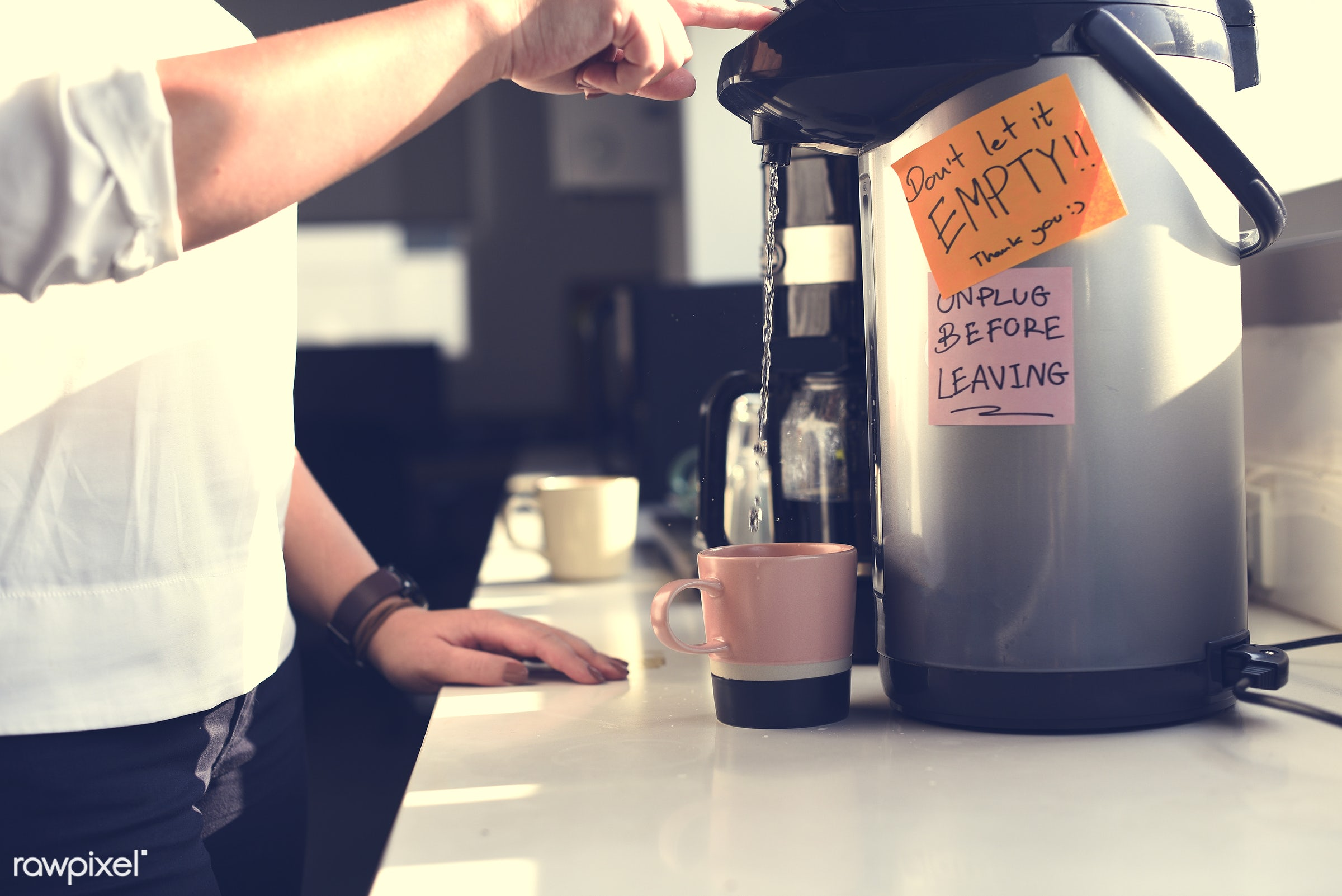 People getting hot coffee - beverage, break, business, cafe, caffeine, canteen, closeup, coffee, company, cup, drink, hands...