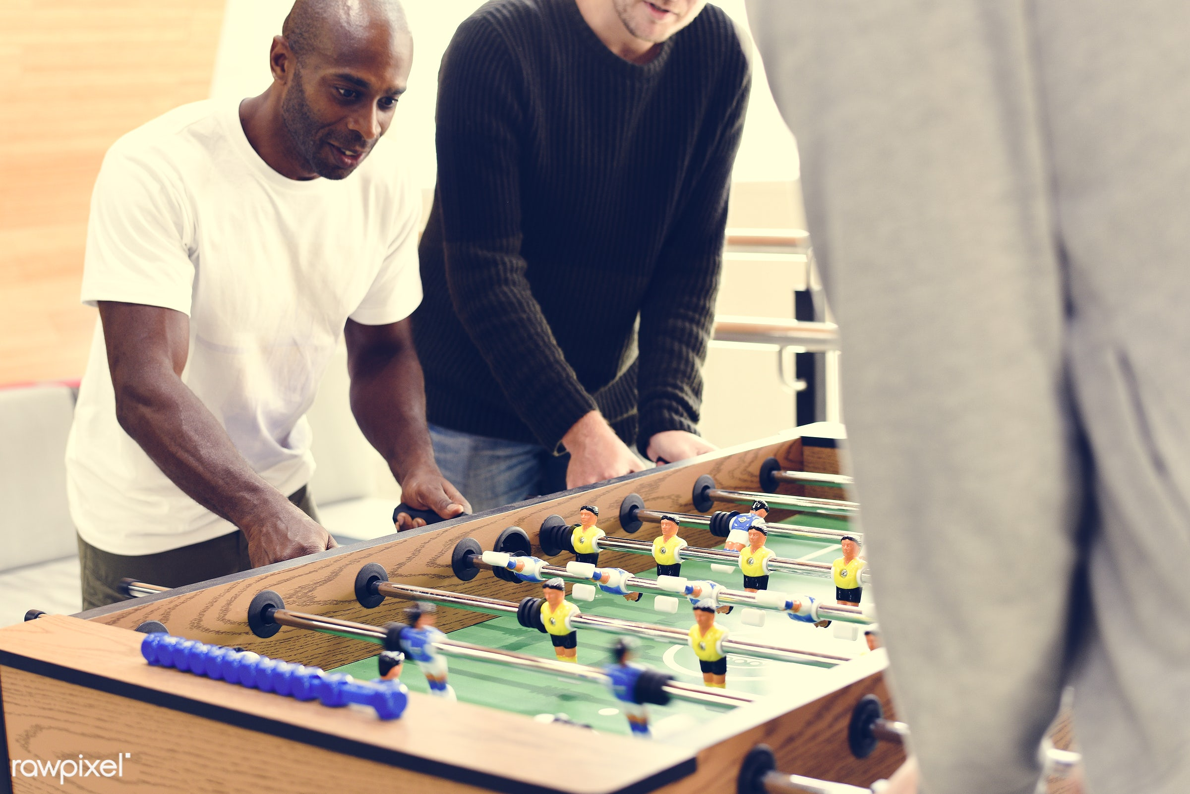 People Playing Enjoying Foosball Table Soccer Game Recreation Le - active, activity, break, competition, enjoy, enjoyment,...