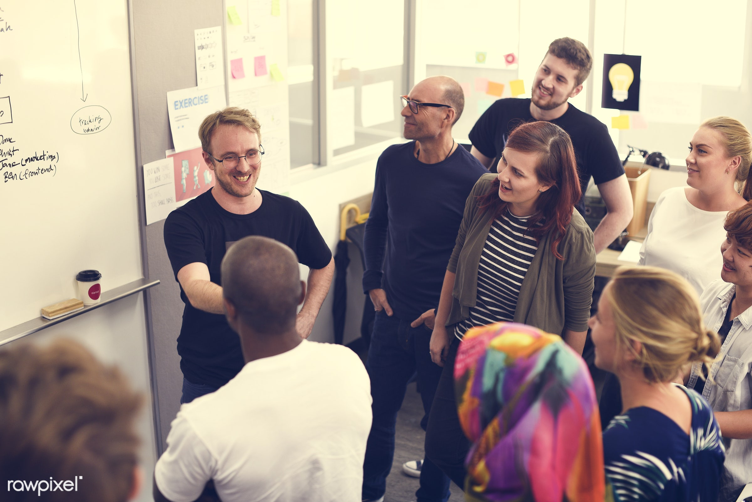 Group of diverse people attending startup business course - attend, brainstorm, business, businesspeople, casual, caucasian...