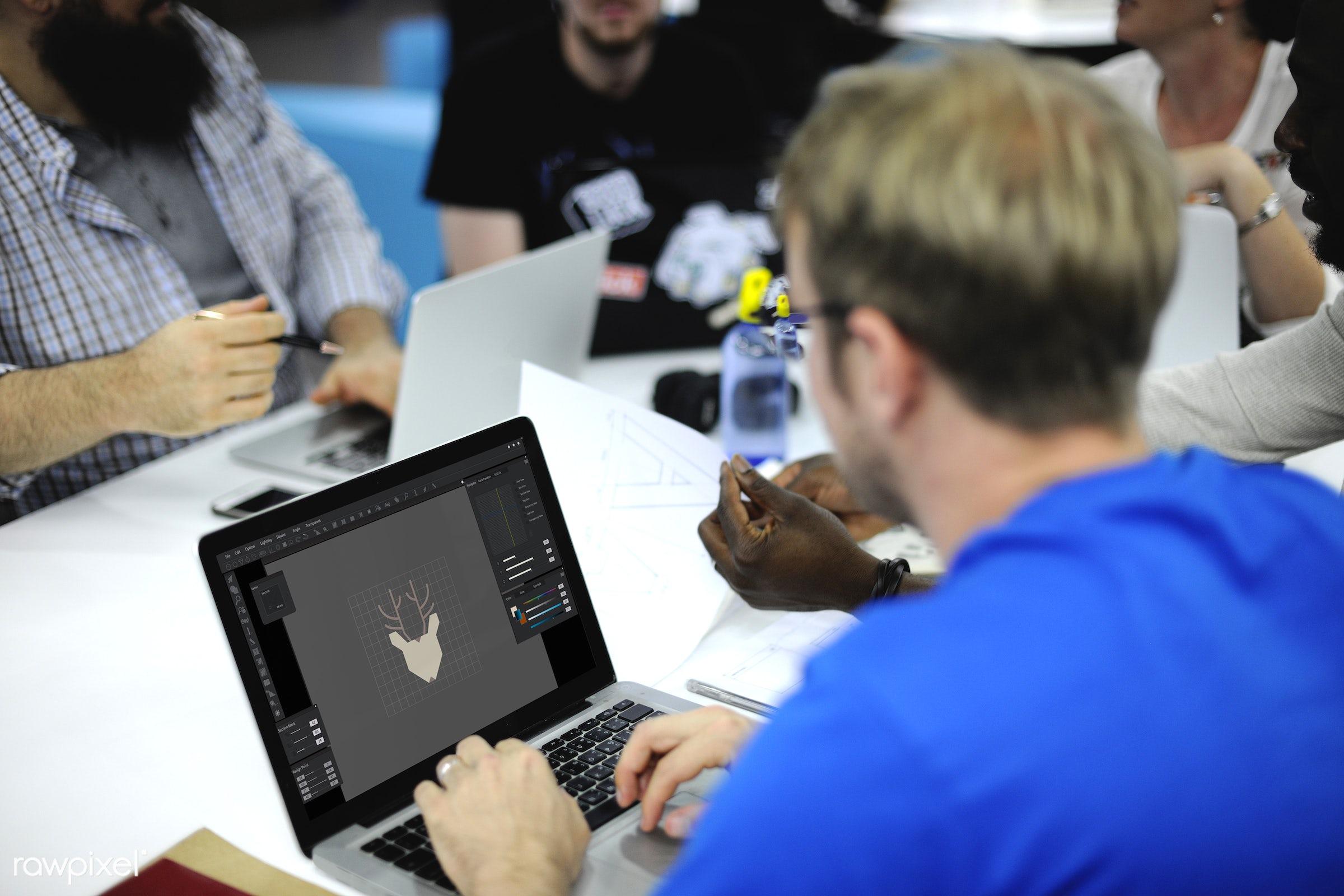 People using computer laptop - brainstorm, caucasian, cellphone, colleagues, computer, creative, device, digital, digital...