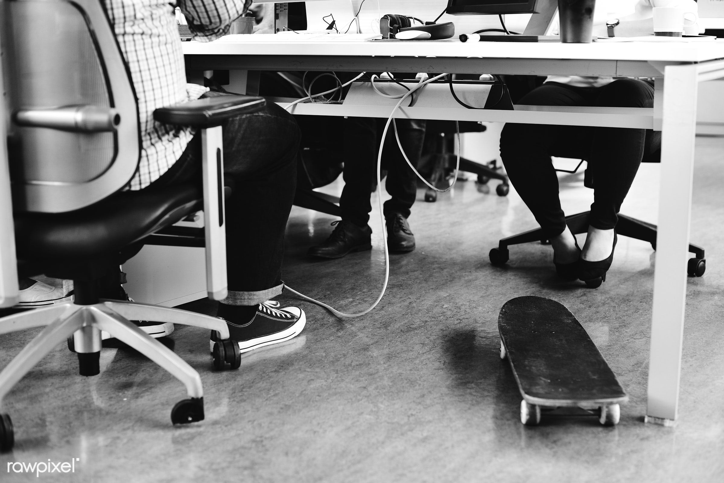 Diverse people working together - career, casual, chair, chill, colleagues, company, computer, coworking, creative, desk,...