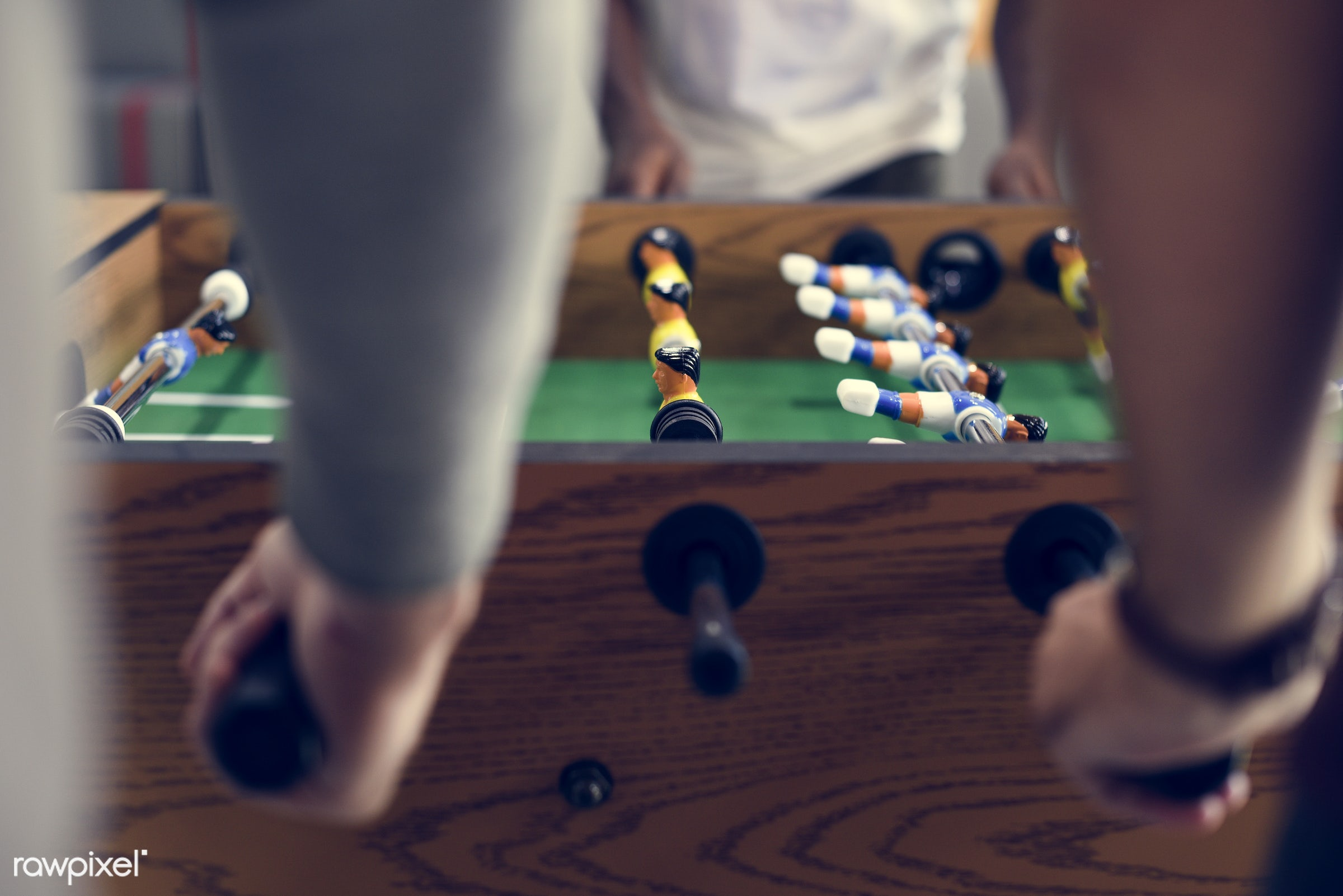 People Playing Enjoying Foosball Table Soccer Game Recreation Le - active, activity, break, closeup, competition, enjoy,...