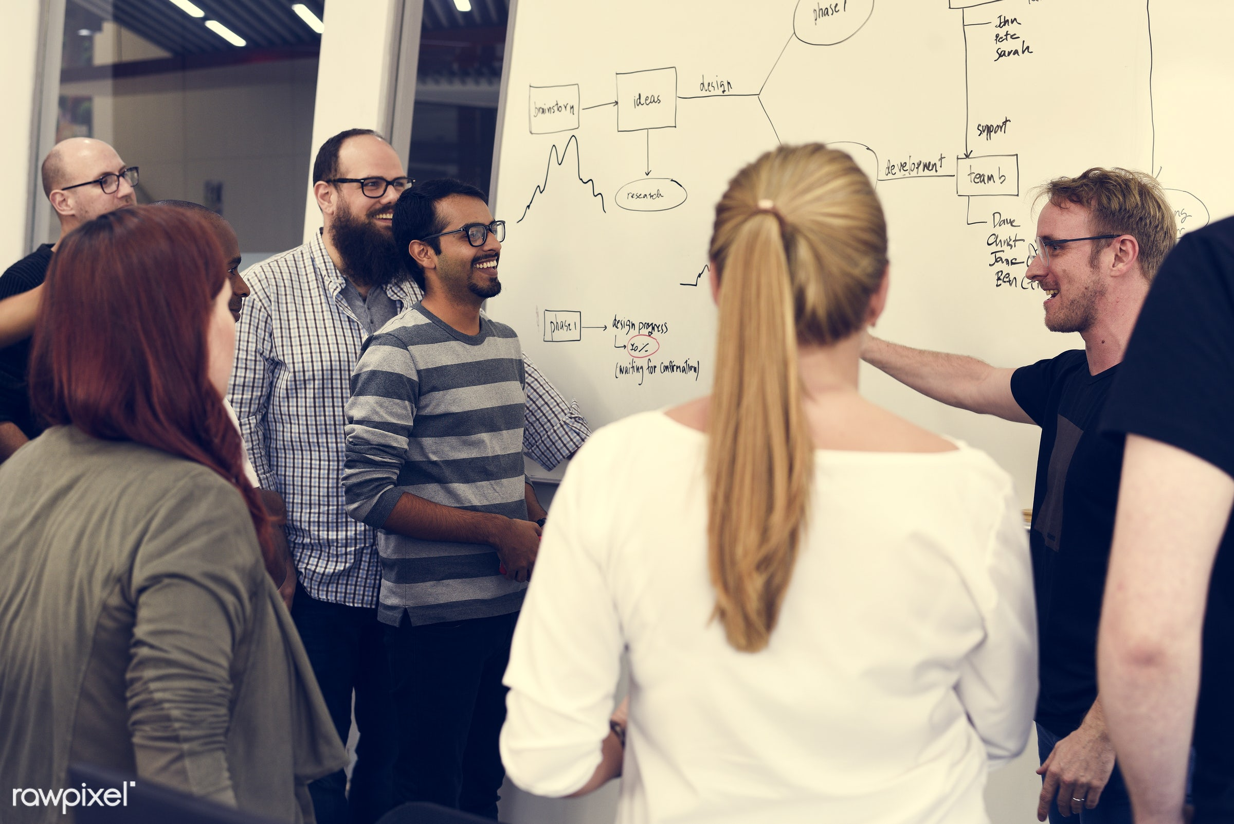 Group of diverse people attending startup business course - attend, brainstorm, business, casual, caucasian, class,...