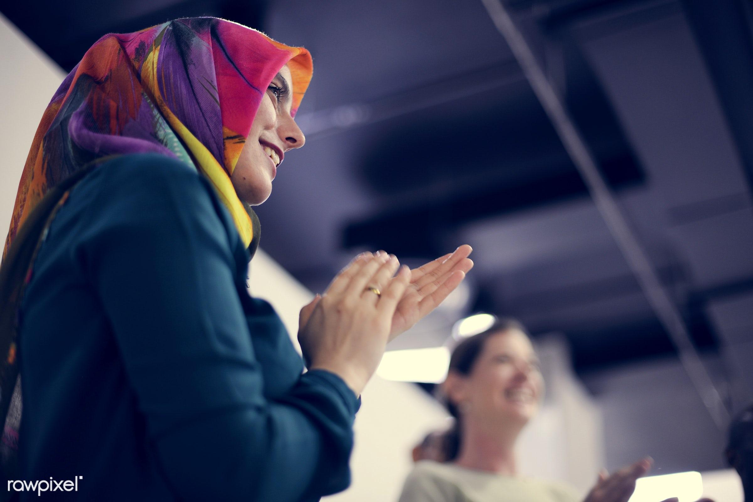 islamic, muslim, islam, arab, arabic, business, clapping, colleagues, company, corporate, coworking, creative, development,...