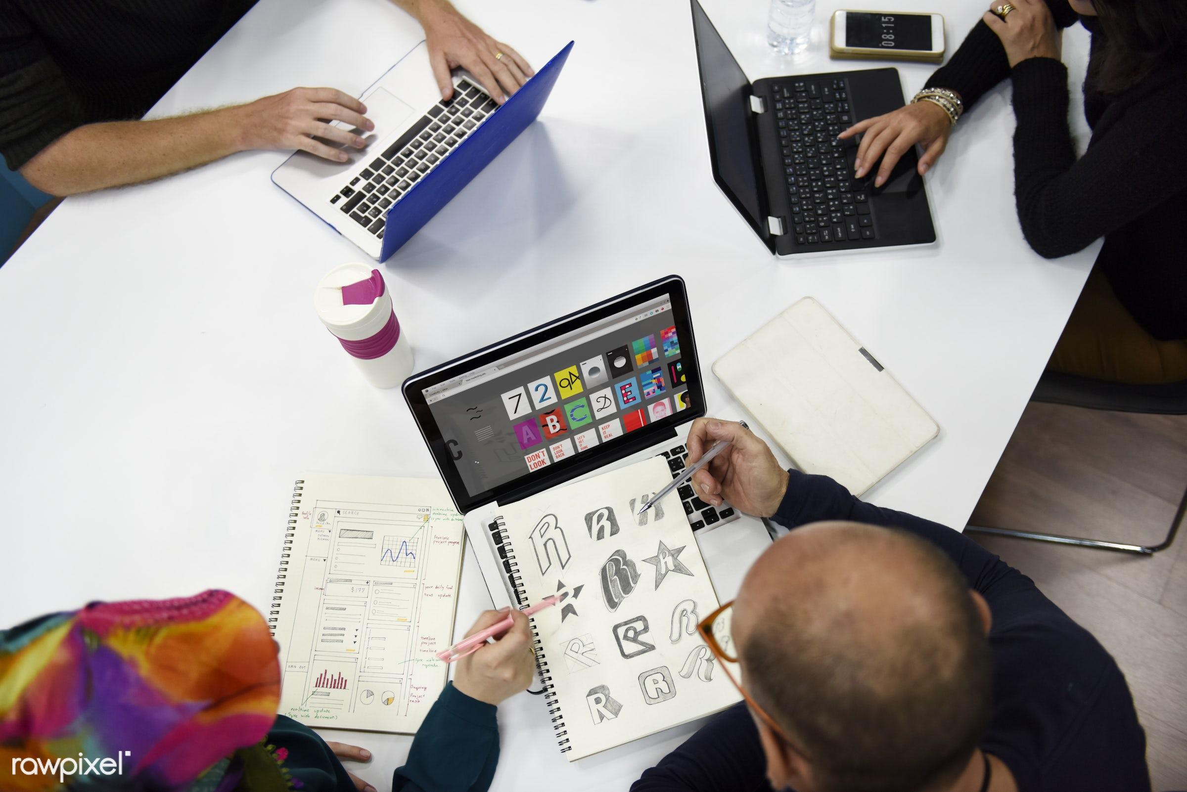 brainstorm, casual, caucasian, colleagues, communication, creative, device, digital, diverse, diversity, friends, graphic,...