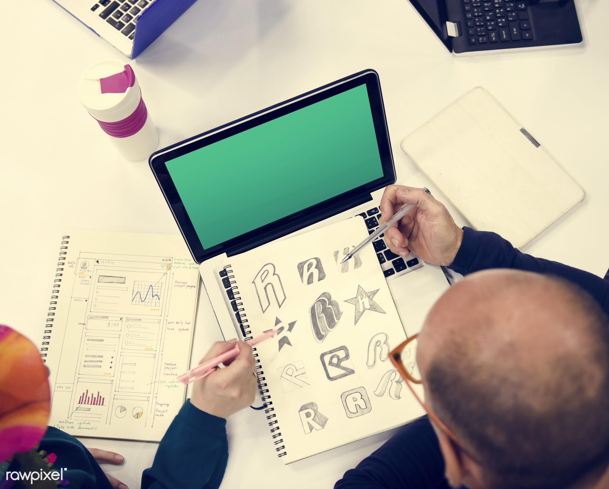 brainstorm, casual, caucasian, colleagues, communication, copy space, creative, design space, device, digital, diverse,...