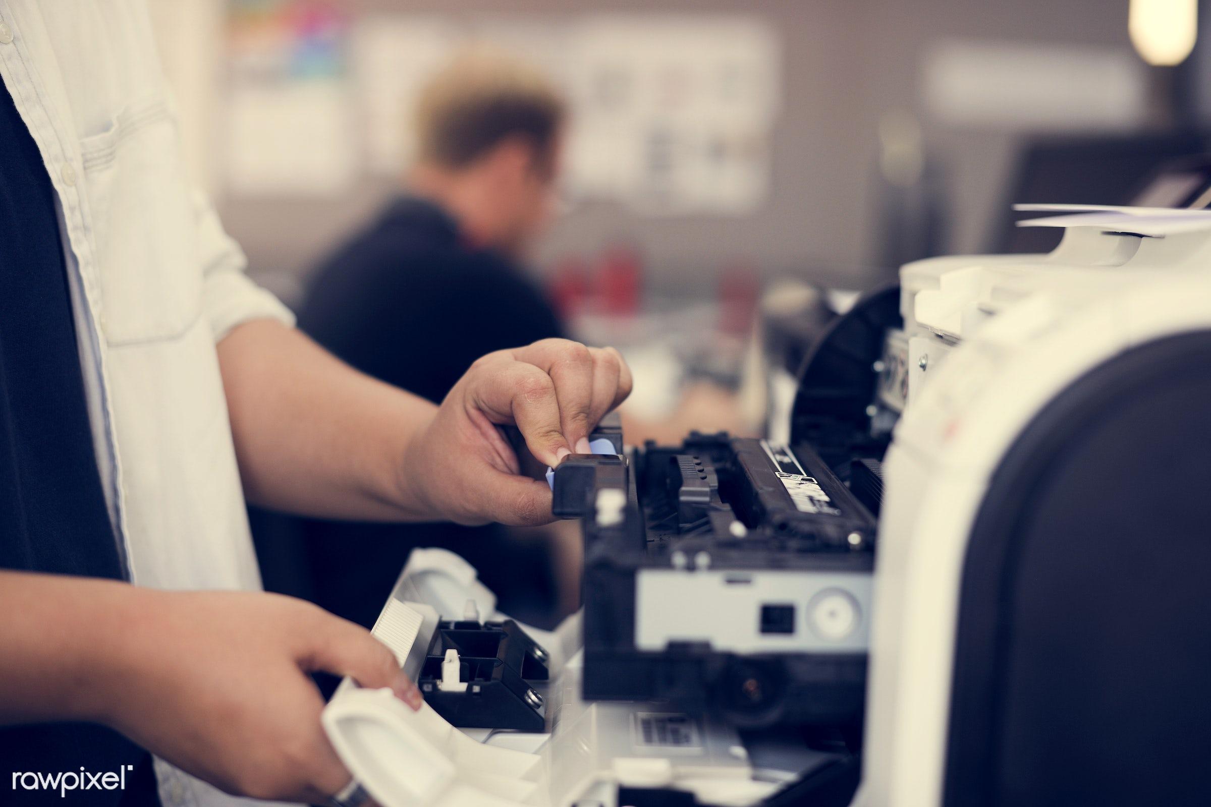 printer, change, checking, closeup, diagnostic, equipment, fixing, hand, hands, ink, insert, instrument, machine,...