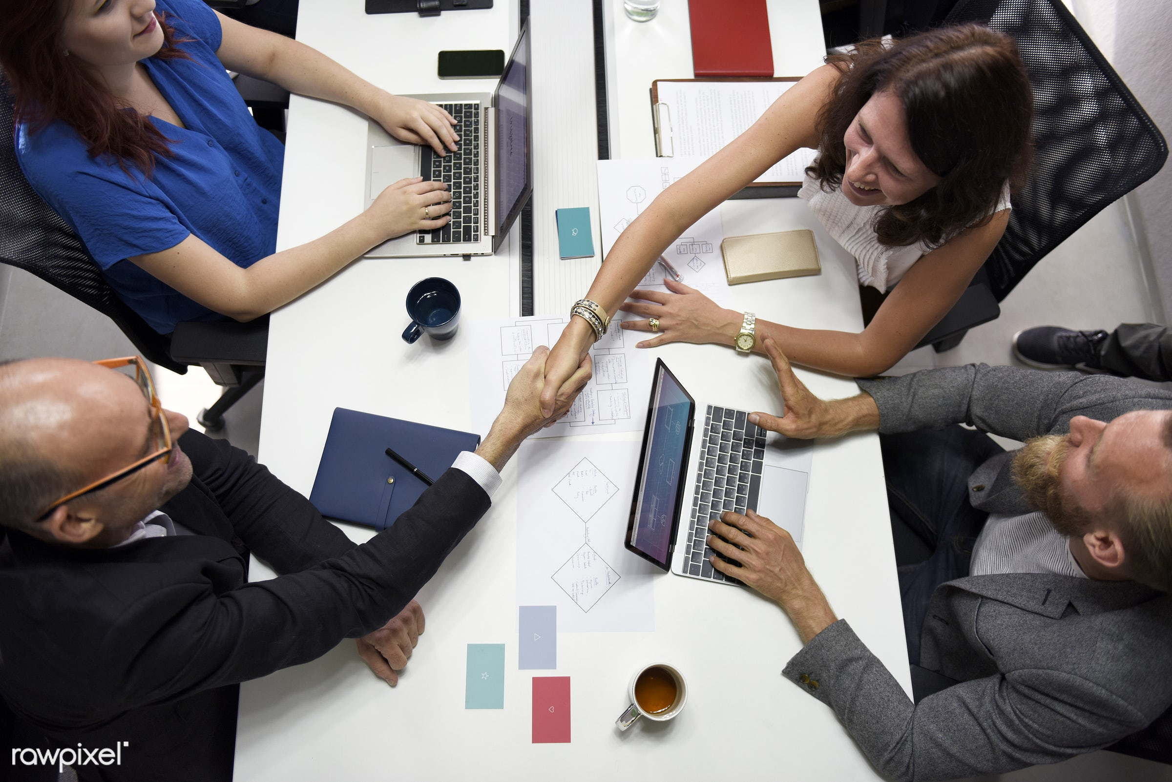 Business people shaking hands together - agreement, brainstorm, business, businesspeople, casual, caucasian, colleagues,...