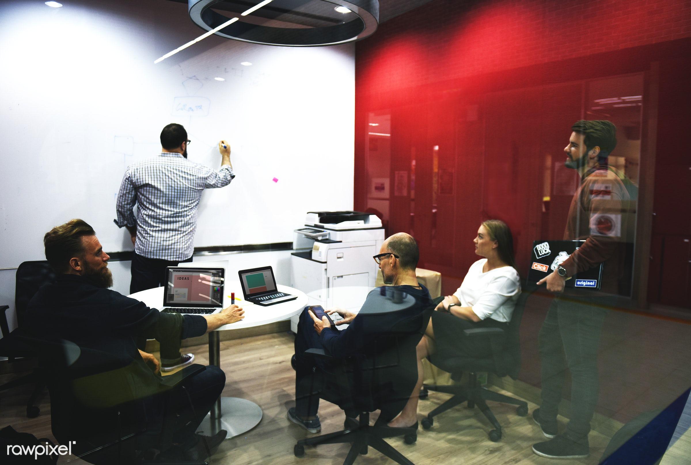 business, brainstorming, computer, device, digital, digital devices, diverse, diversity, group, ideas, laptop, meeting, men...