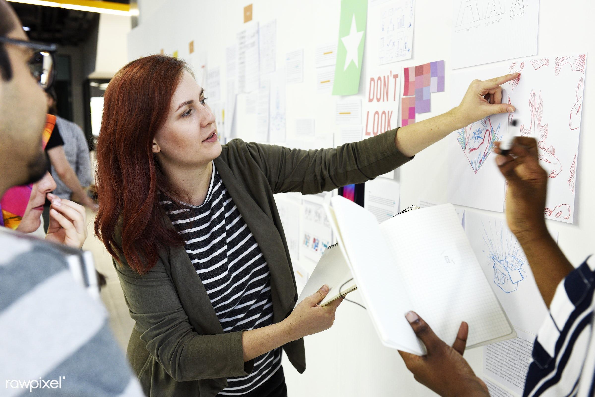 brainstorm, business, casual, caucasian, colleagues, company, coworking, creative, development, discussion, diverse,...