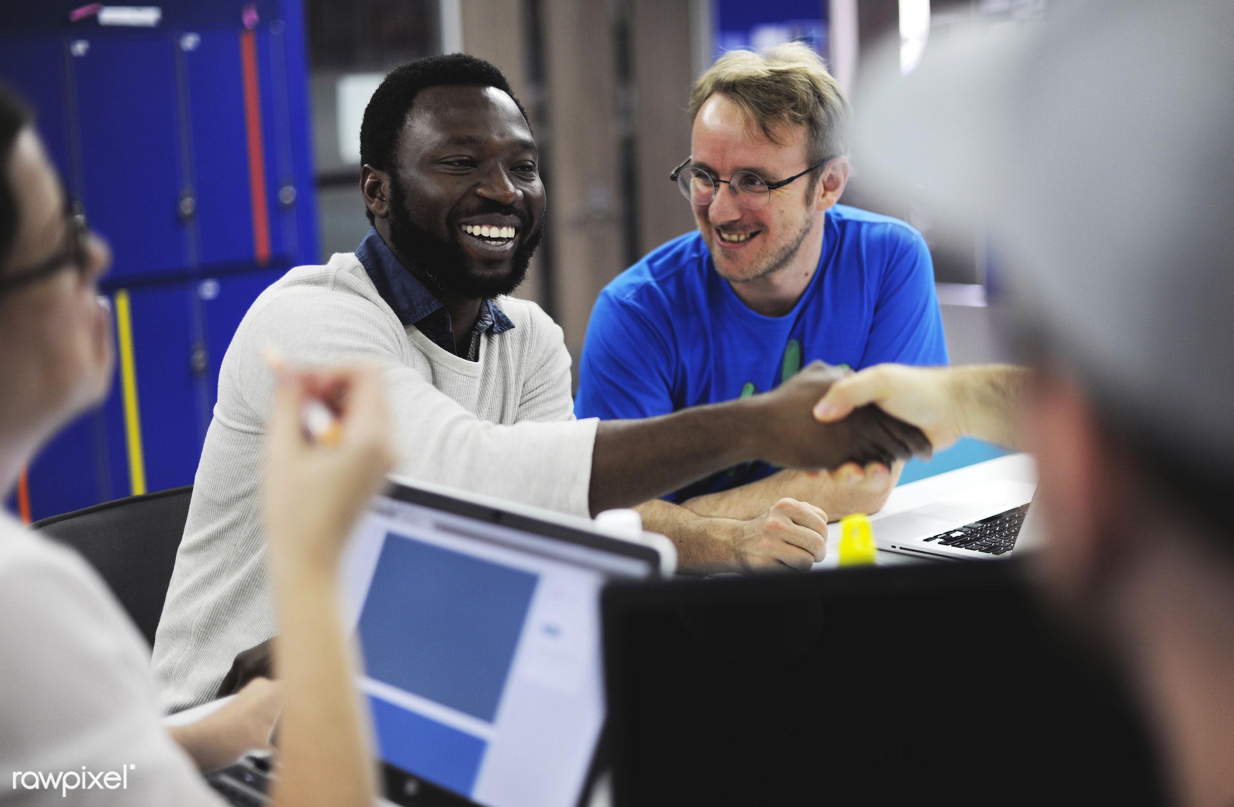 People using computer laptop - brainstorm, casual, colleagues, communication, device, digital, friends, job, laptop, new...