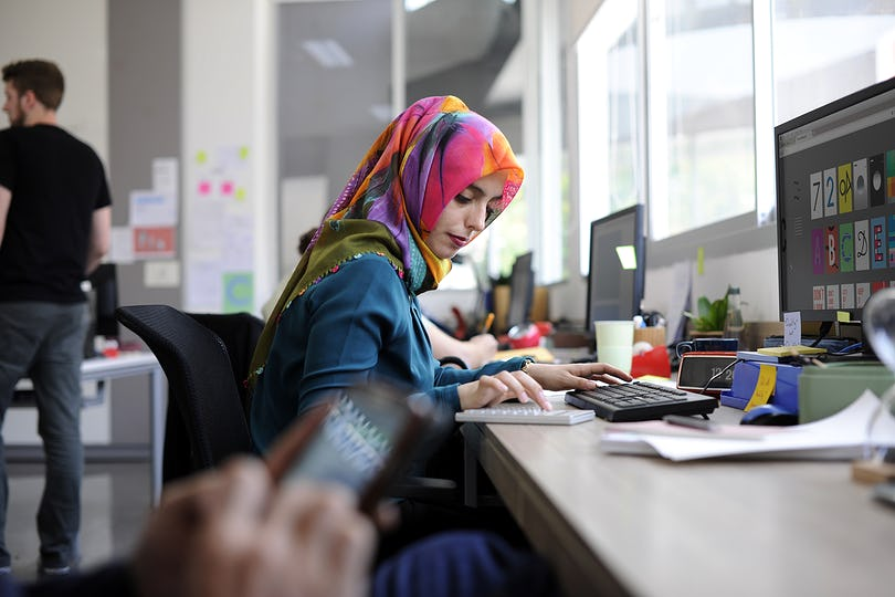 Islamic woman working
