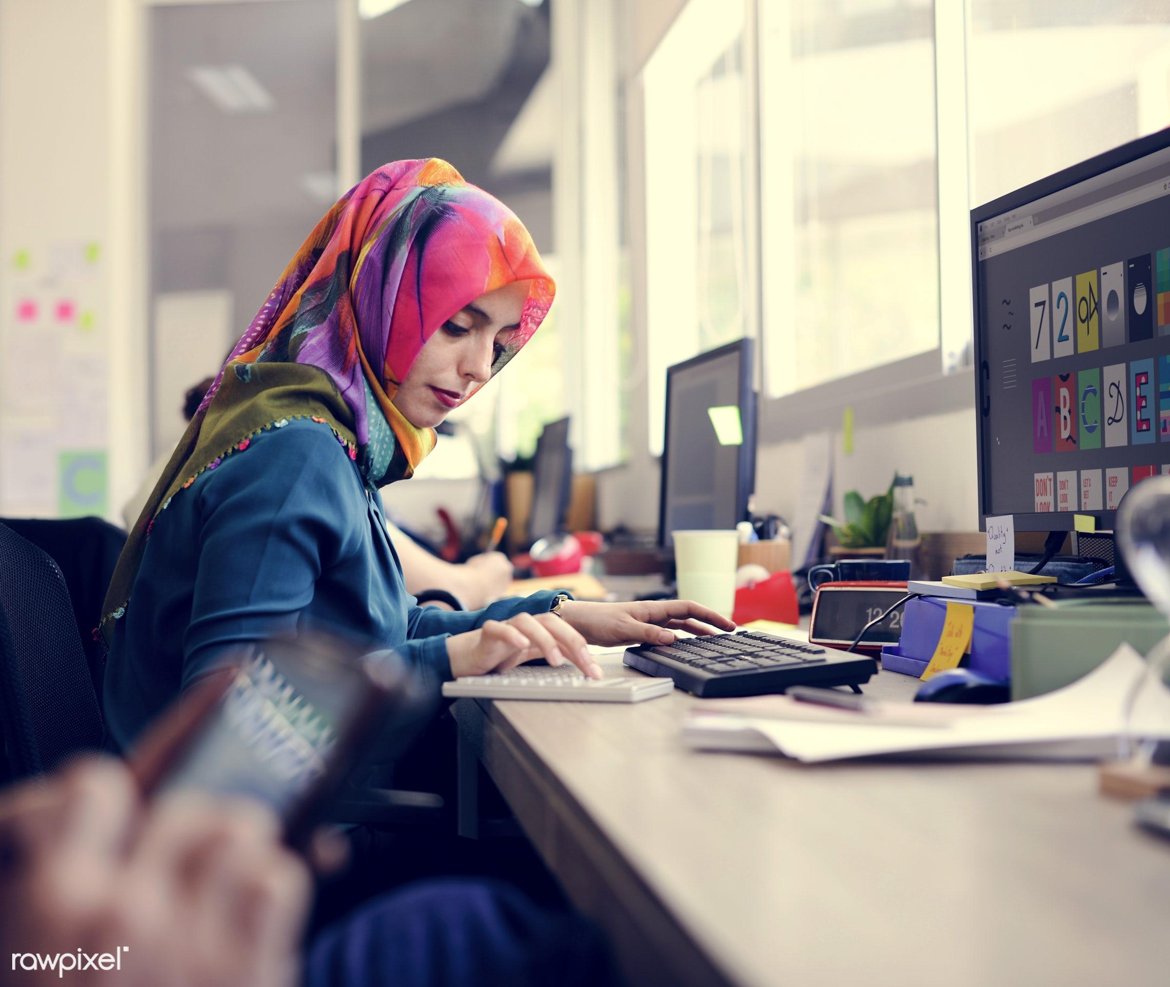 business, career, communication, company, computer, connection, desk, hijab, internet, islamic, job, muslim, occupation,...