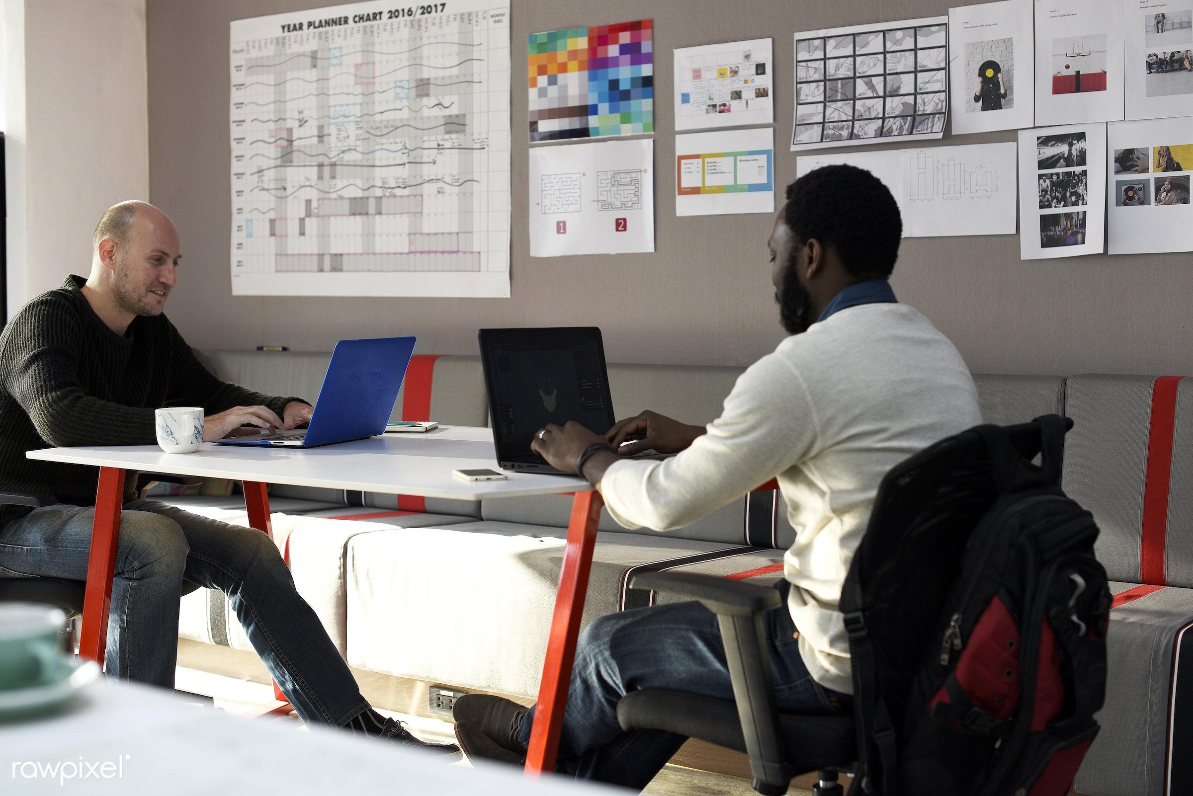 african descent, black, casual, caucasian, colleagues, communication, device, digital, friends, job, laptop, men, new...