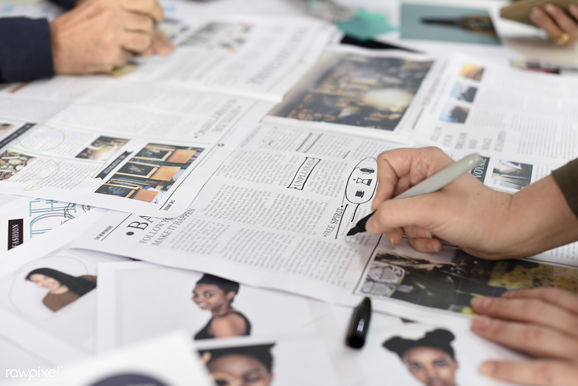Startup Business People Working Checking Newspaper Information - brainstorm, business, businesspeople, casual, caucasian,...