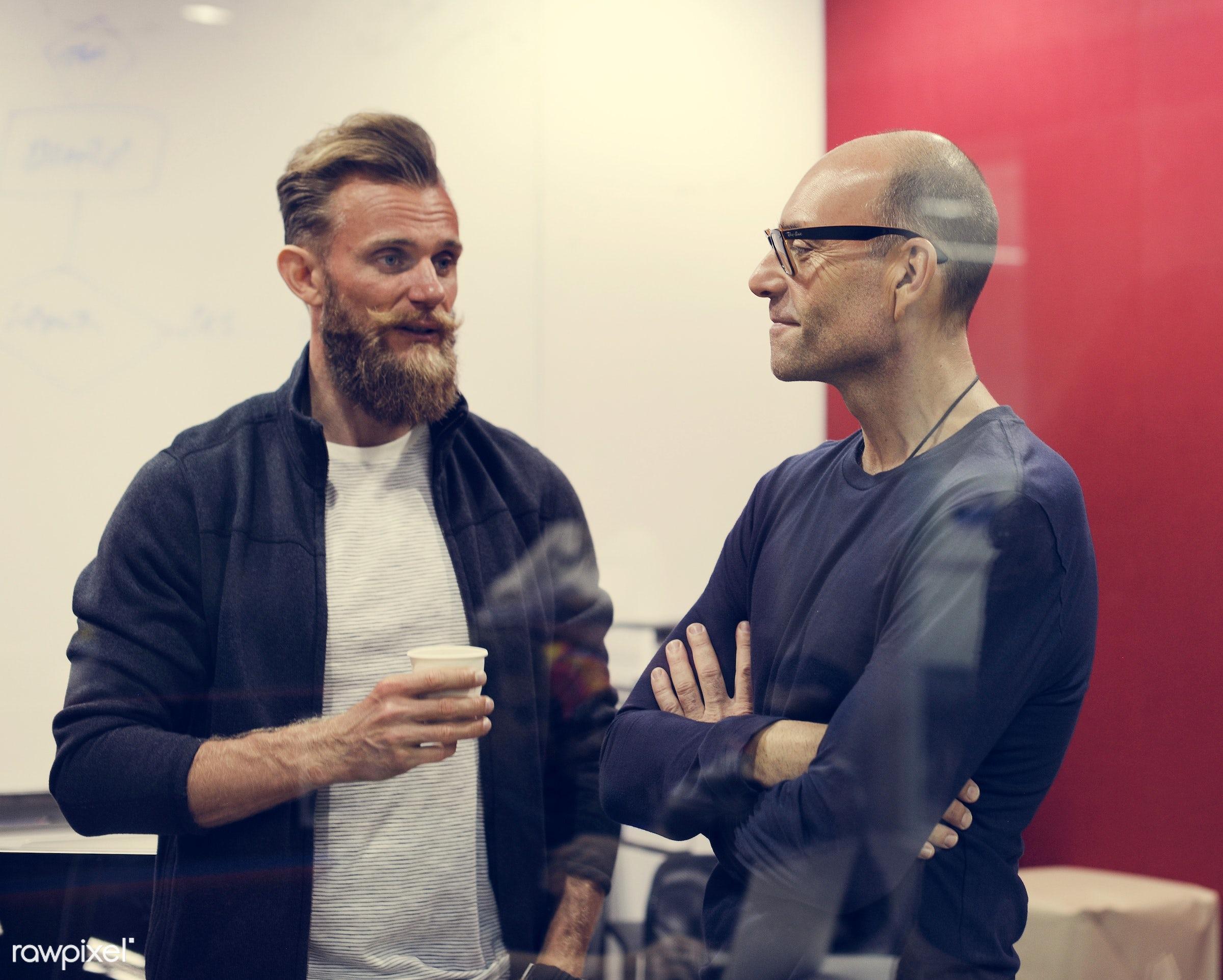 beard, break, business, businesspeople, casual, caucasian, colleagues, company, coworking, diverse, diversity, entrepreneur...