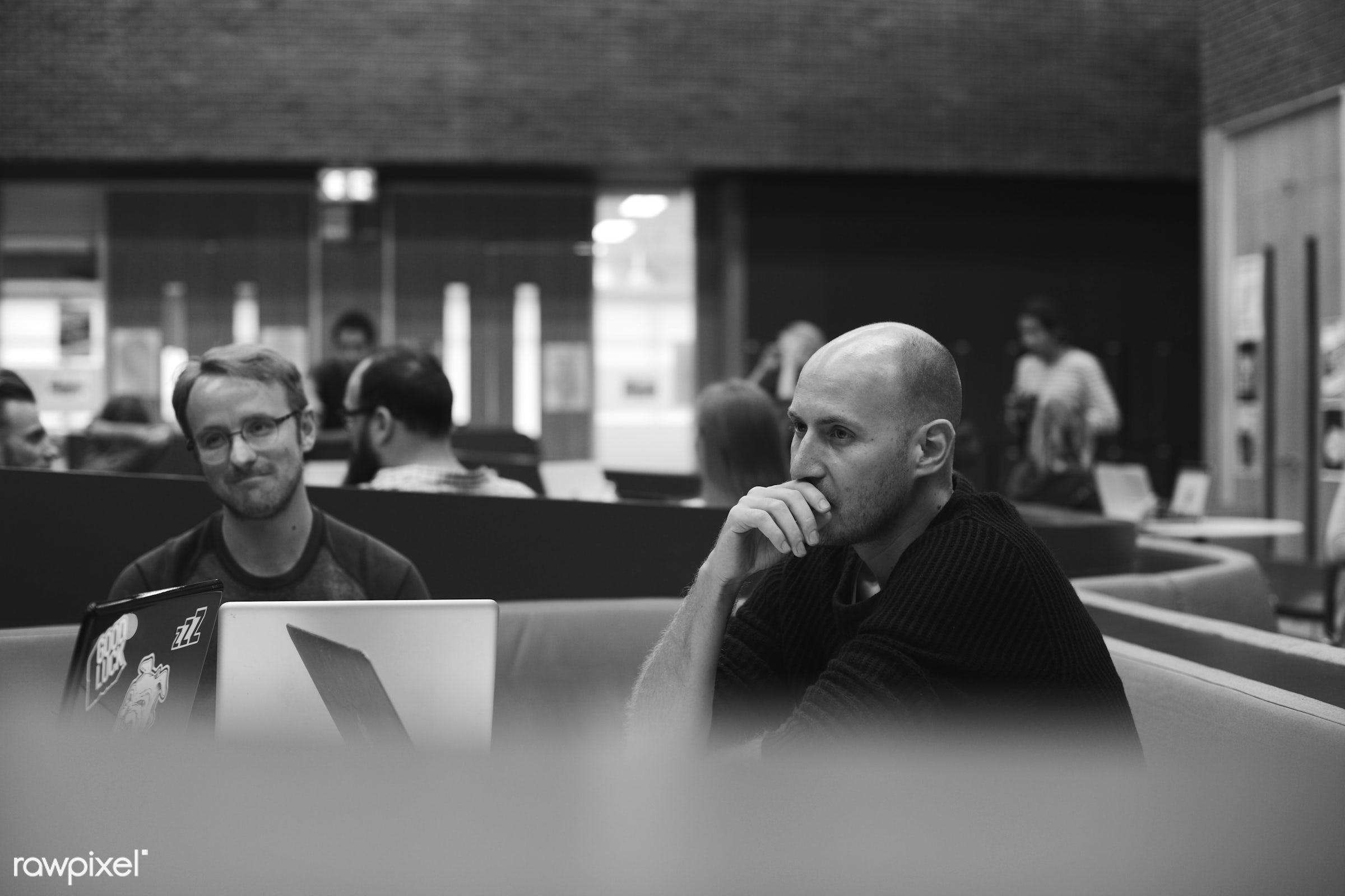 workspace, bald, casual, caucasian, colleagues, communication, device, digital, friends, job, laptop, men, new business,...