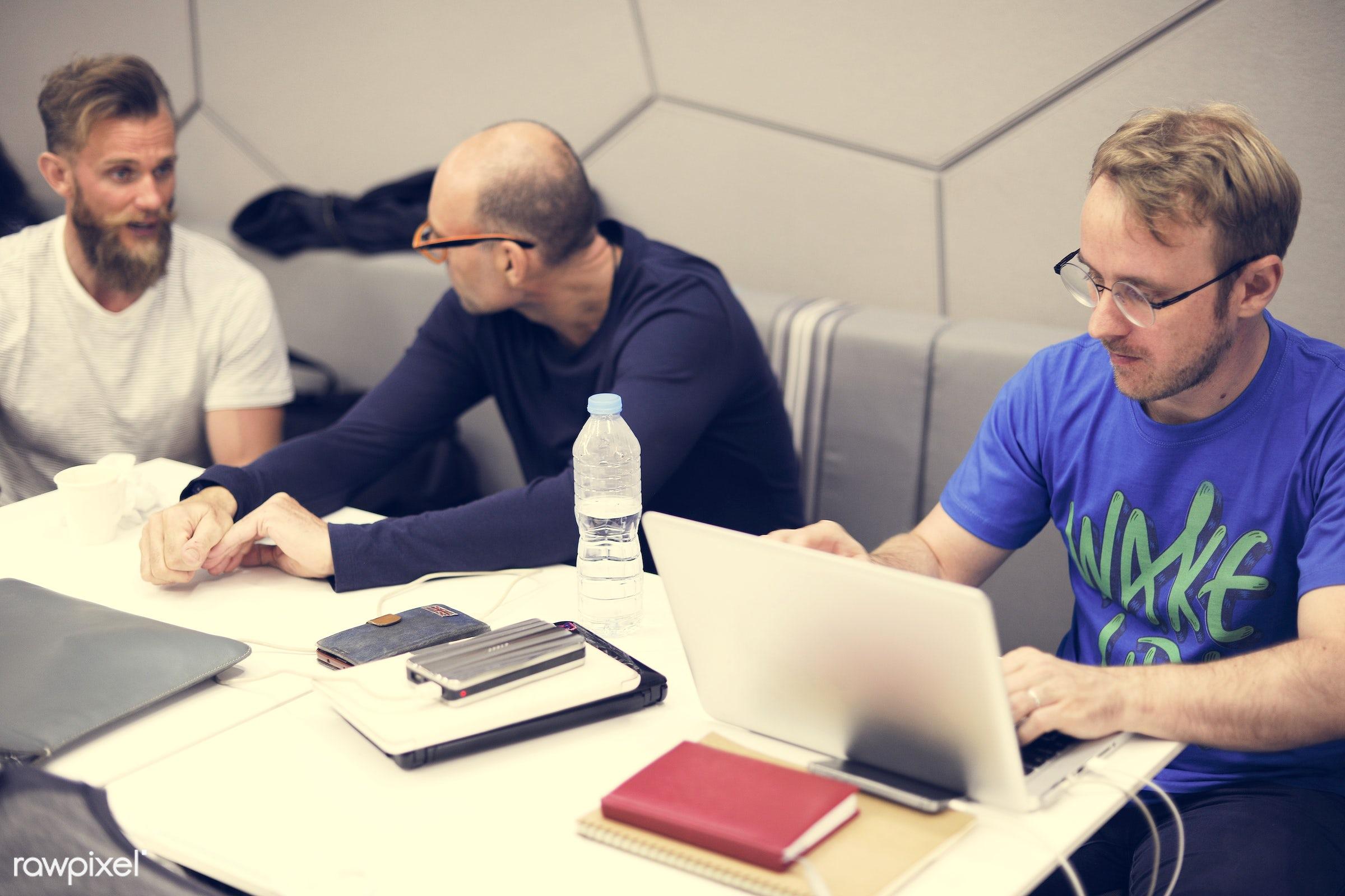 brainstorming, business, computer, device, digital, digital devices, diverse, diversity, group, ideas, laptop, meeting, men...