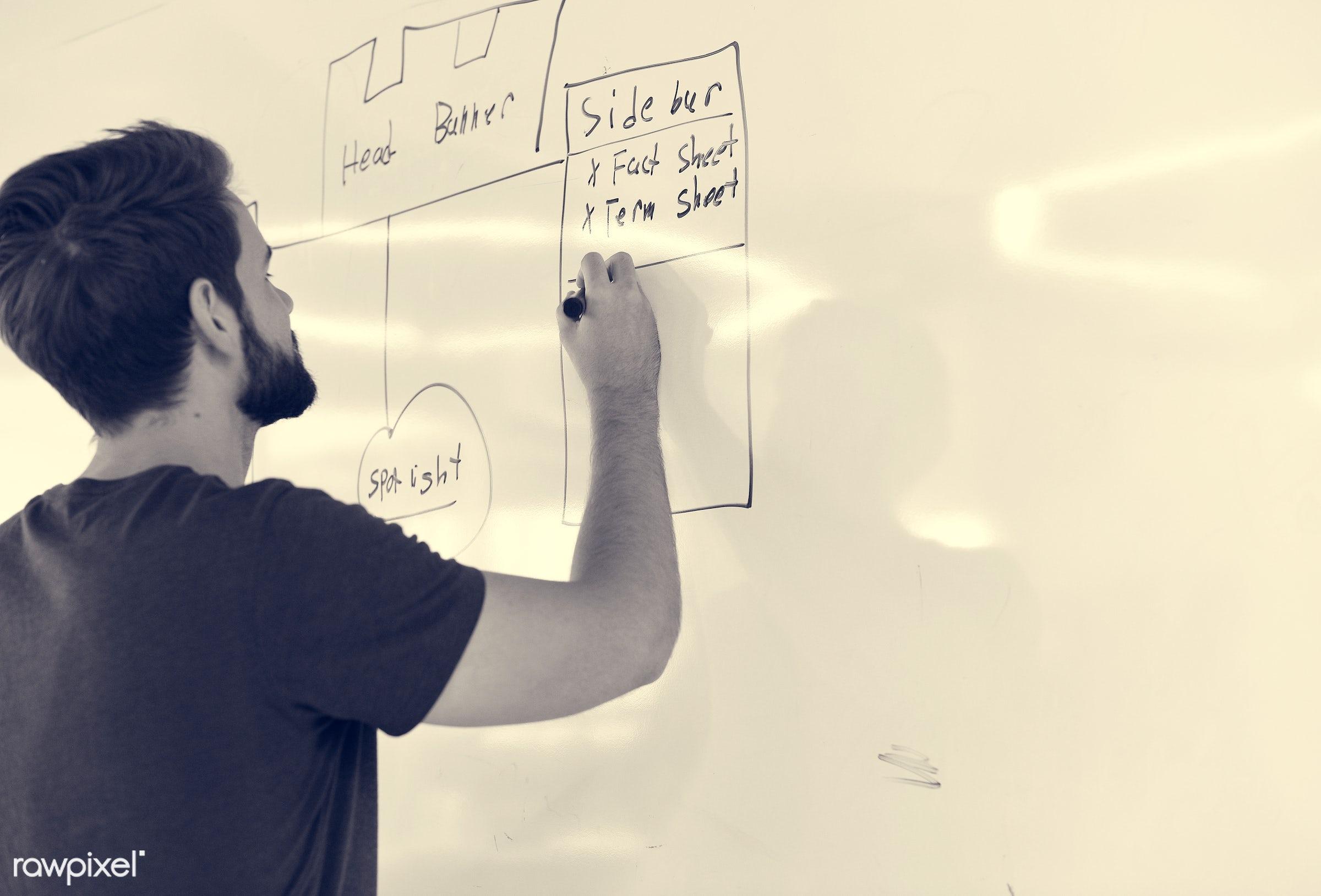 alone, board, brainstorm, career, casual, caucasian, concept, conceptualize, coworking, creative, details, development,...