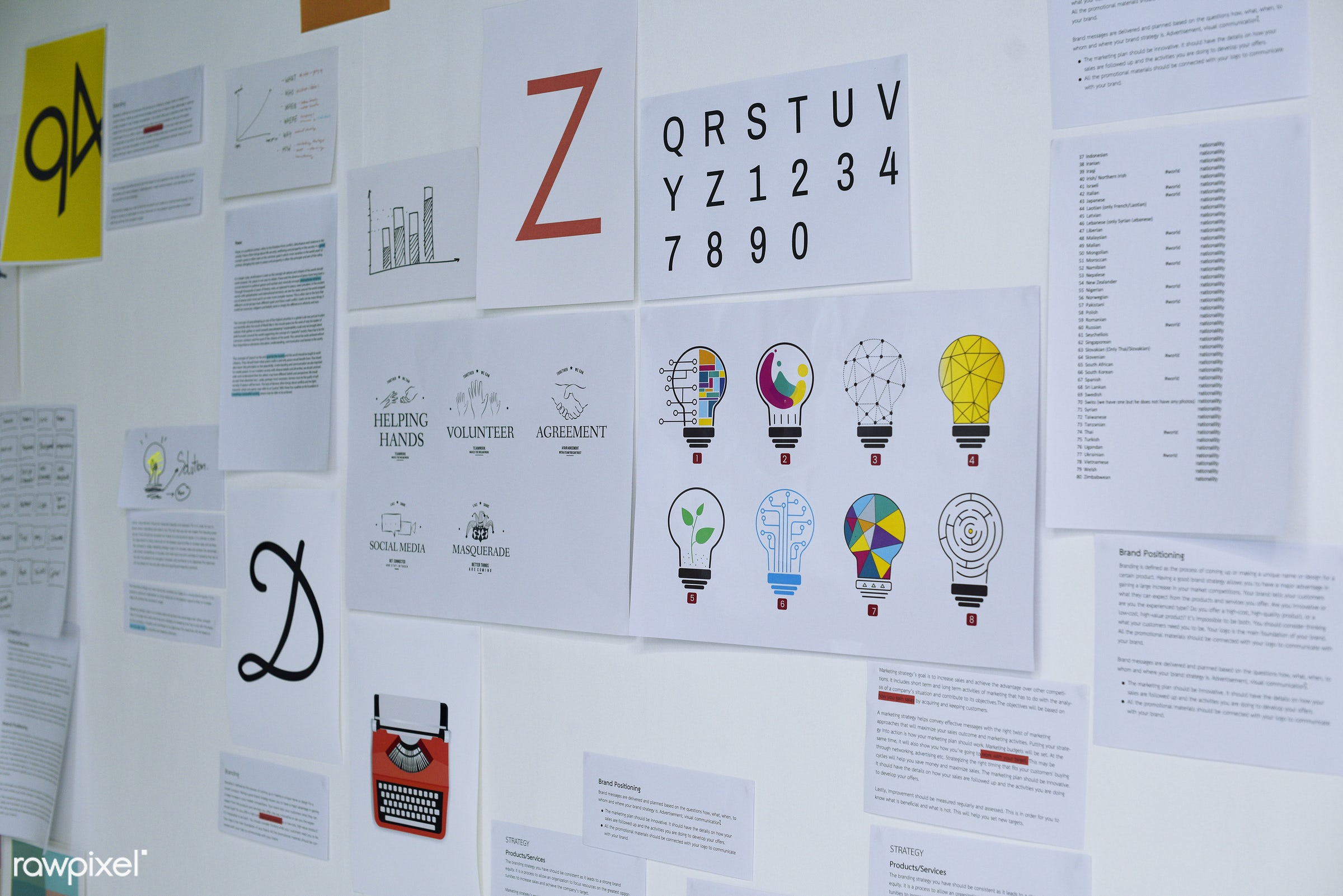 board, brainstorming, business, details, document, graphic, ideas, information, marketing, meeting, nobody, papers,...