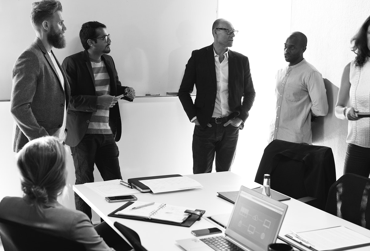 Creative people discussion together