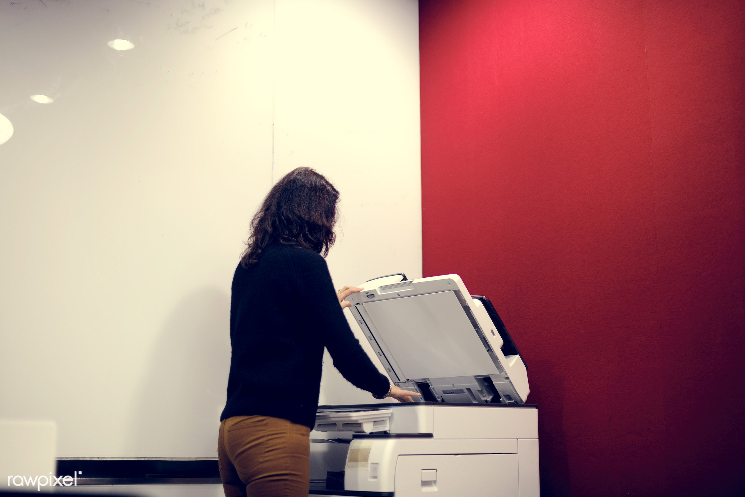 printer, business, businesswoman, clerk, copy, documents, equipment, indoors, machine, occupation, office, paper, person,...