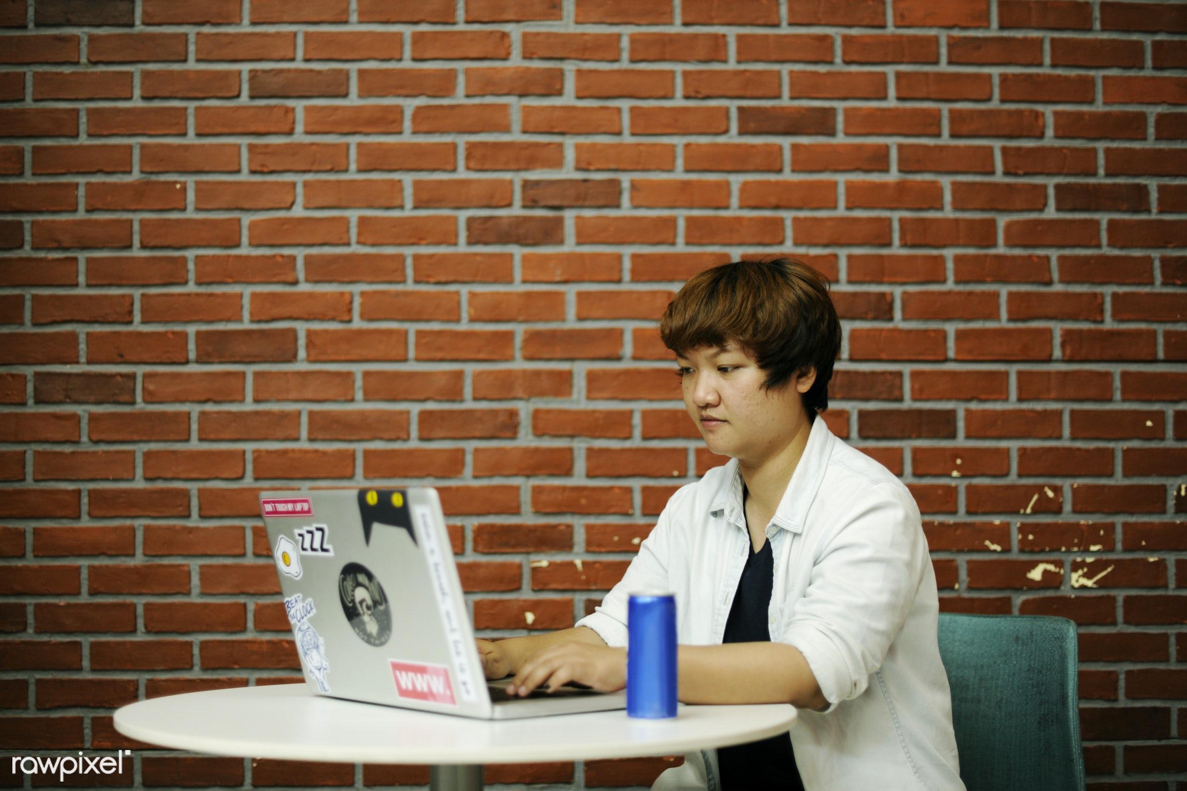 programmer, alone, asian, brick wall, casual, communication, device, digital, job, laptop, new business, notebook, one,...
